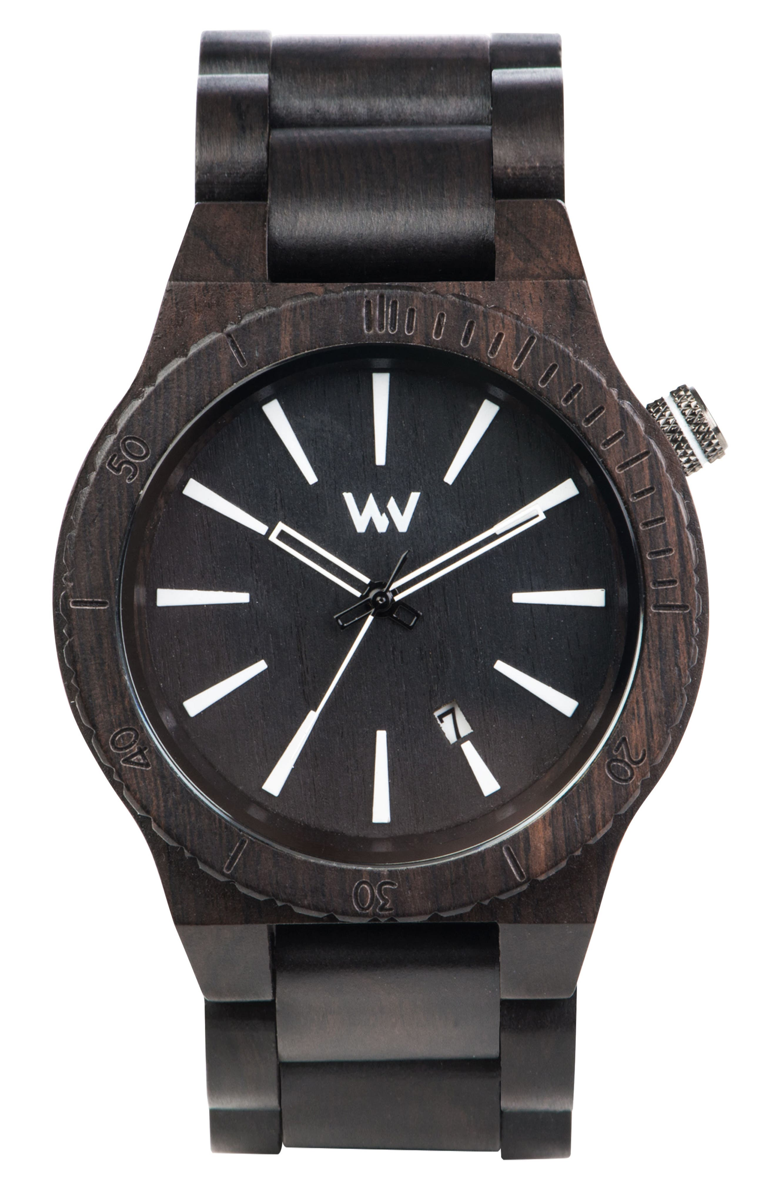 Assunt Wood Bracelet Watch, 46mm,                         Main,                         color, Black/ White
