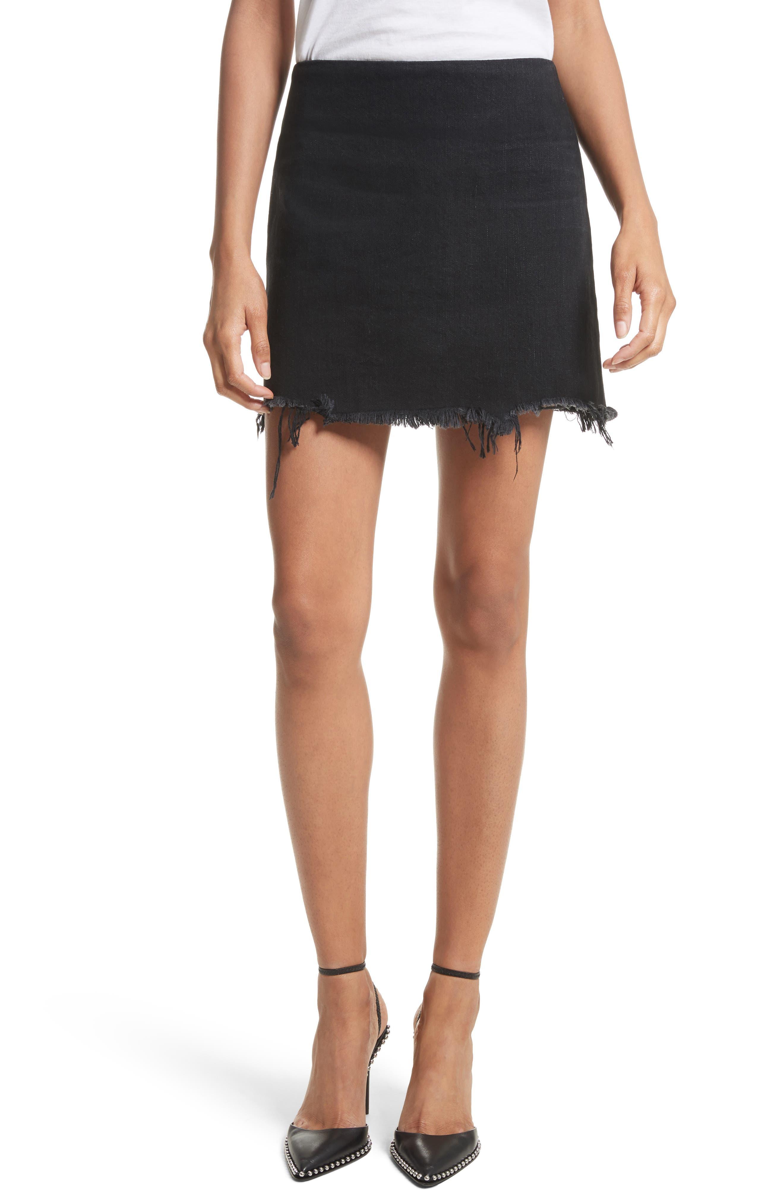 Denim x Alexander Wang Frayed Miniskirt,                             Main thumbnail 1, color,                             Black Fade