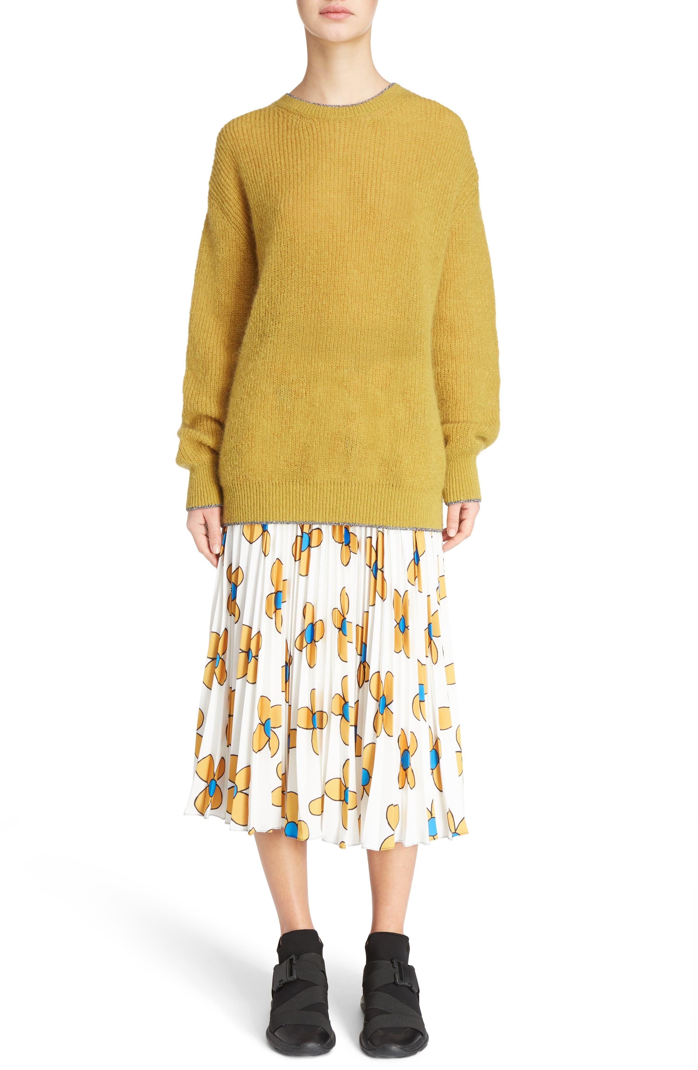 Crewneck Sweater,                             Alternate thumbnail 6, color,                             Honey/Silver