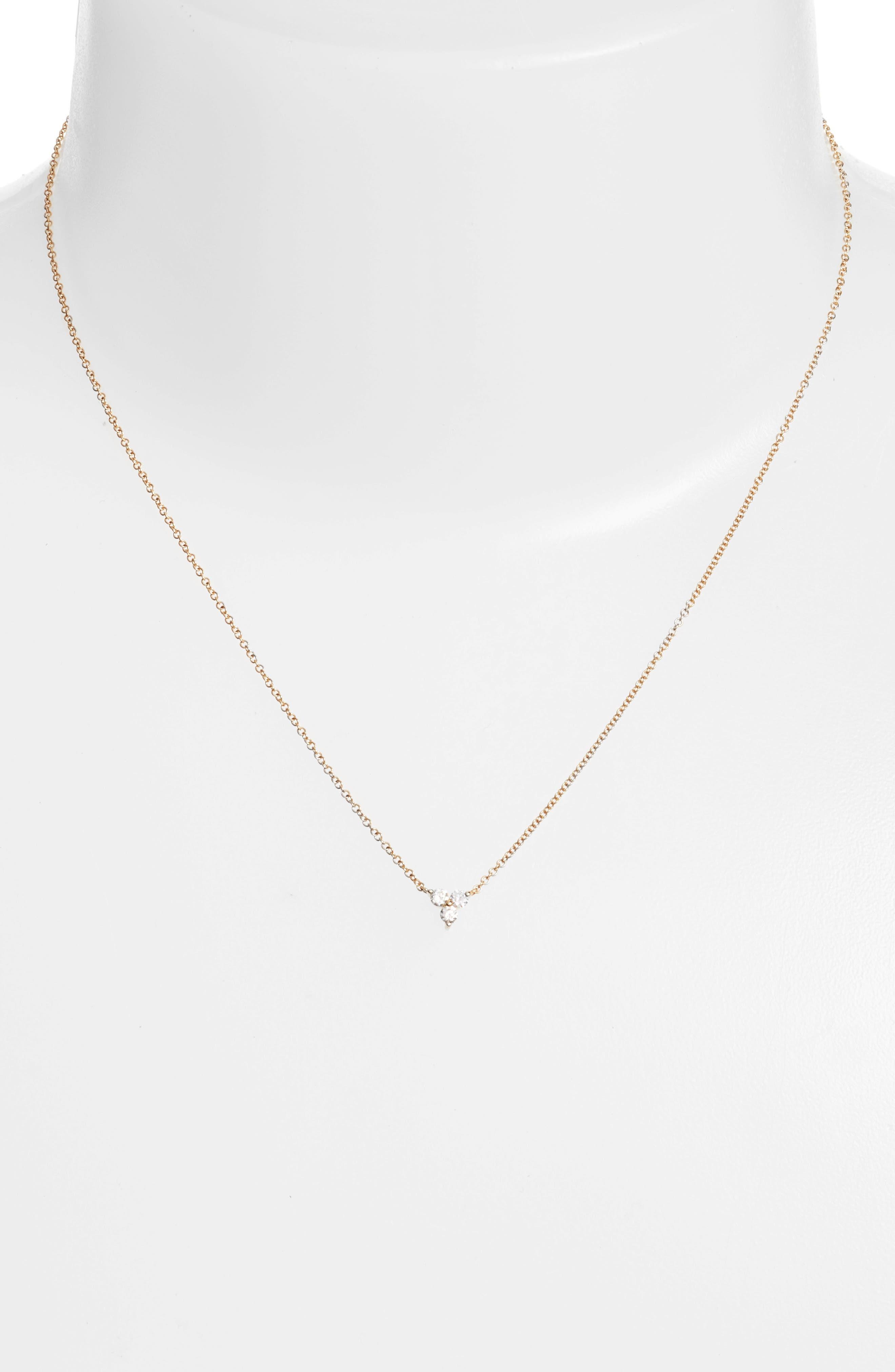 Trio Diamond Pendant Necklace,                             Alternate thumbnail 2, color,                             Yellow Gold