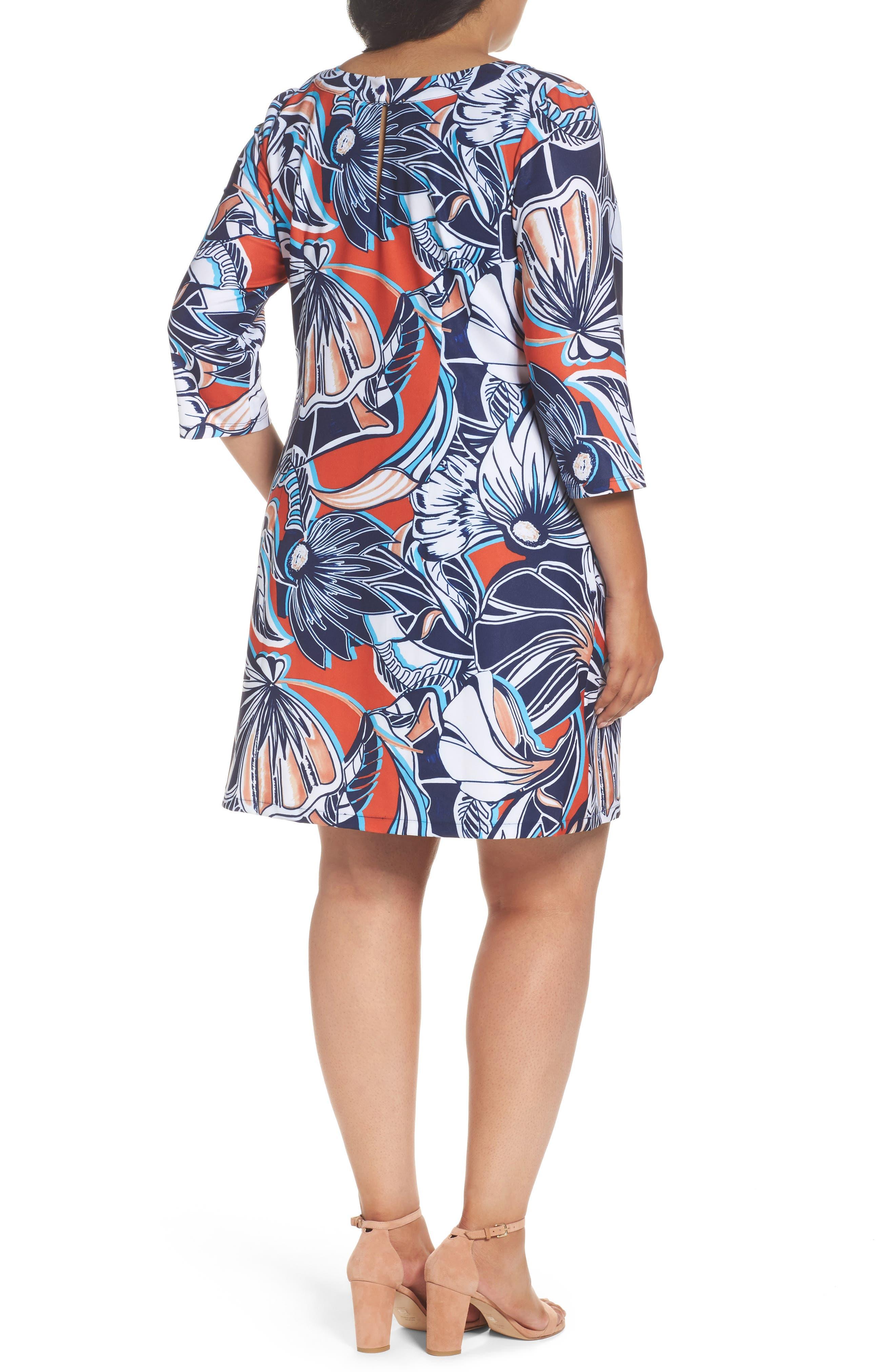 Alternate Image 2  - ECI Floral A-Line Shift Dress (Plus Size)
