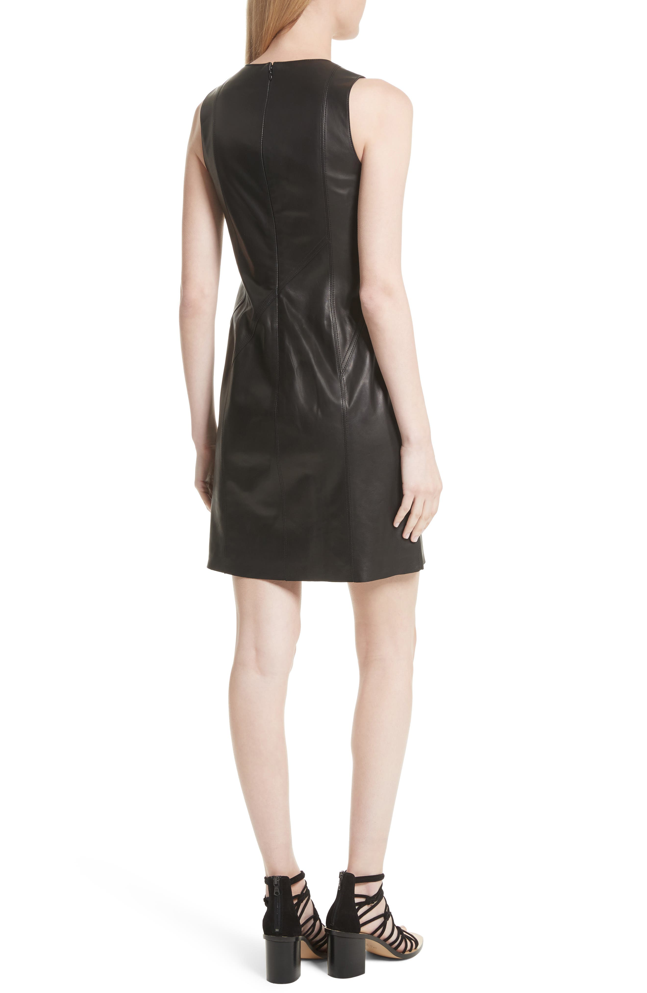 Loxley Leather Dress,                             Alternate thumbnail 2, color,                             Black
