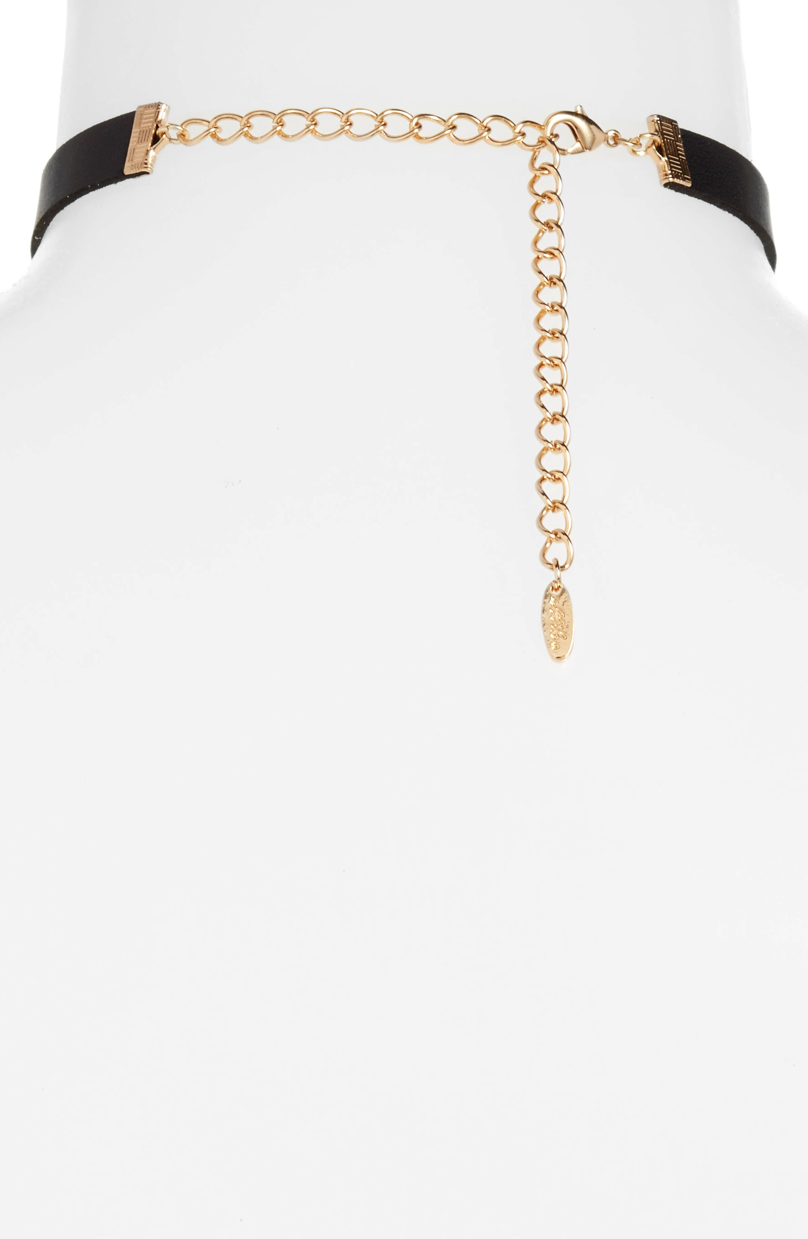 Layered Chain & Leather Choker,                             Alternate thumbnail 2, color,                             Black