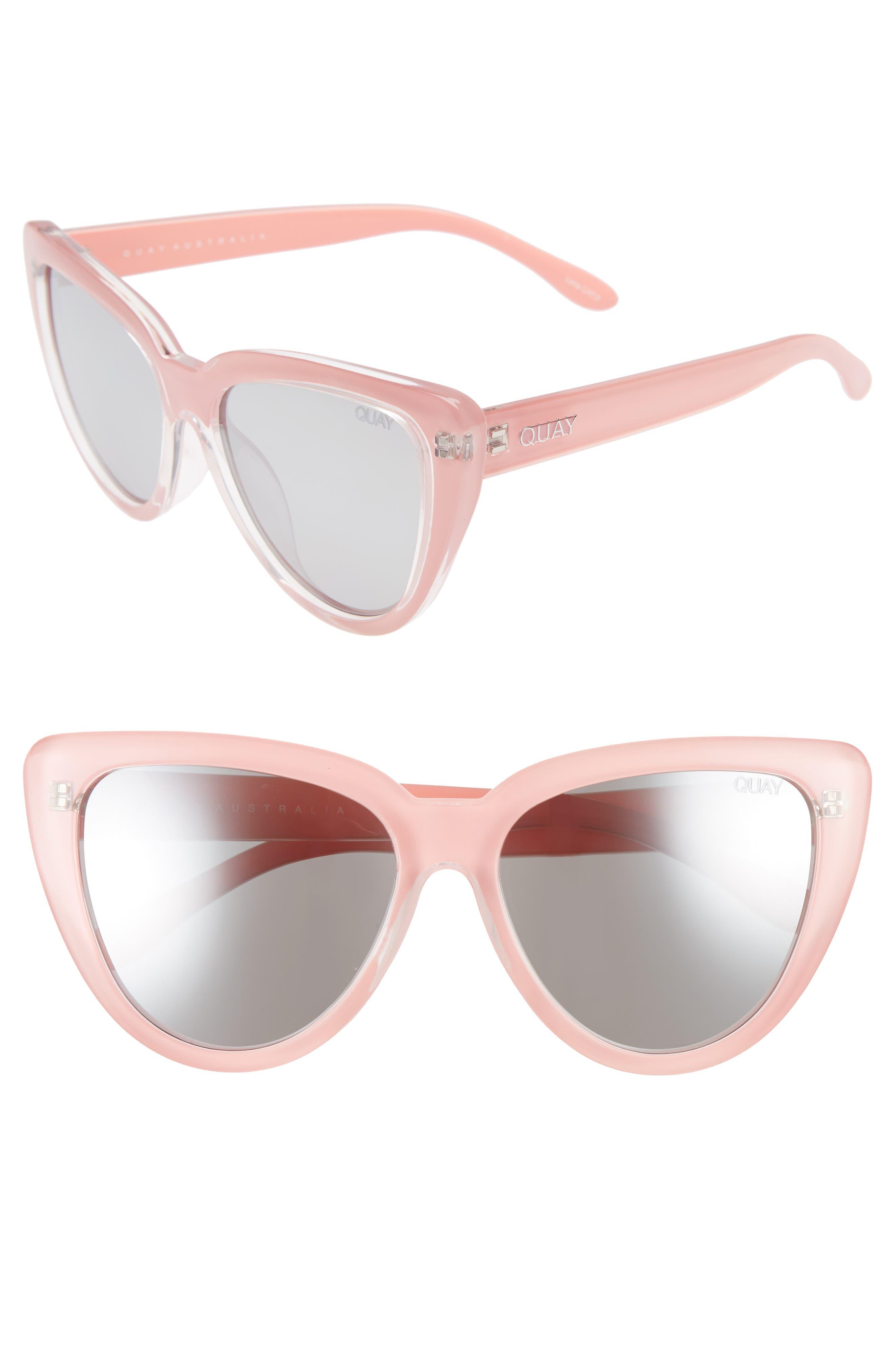 Stray Cat 58mm Mirrored Cat Eye Sunglasses,                             Main thumbnail 1, color,                             Peach/ Gradual Flash Mirror