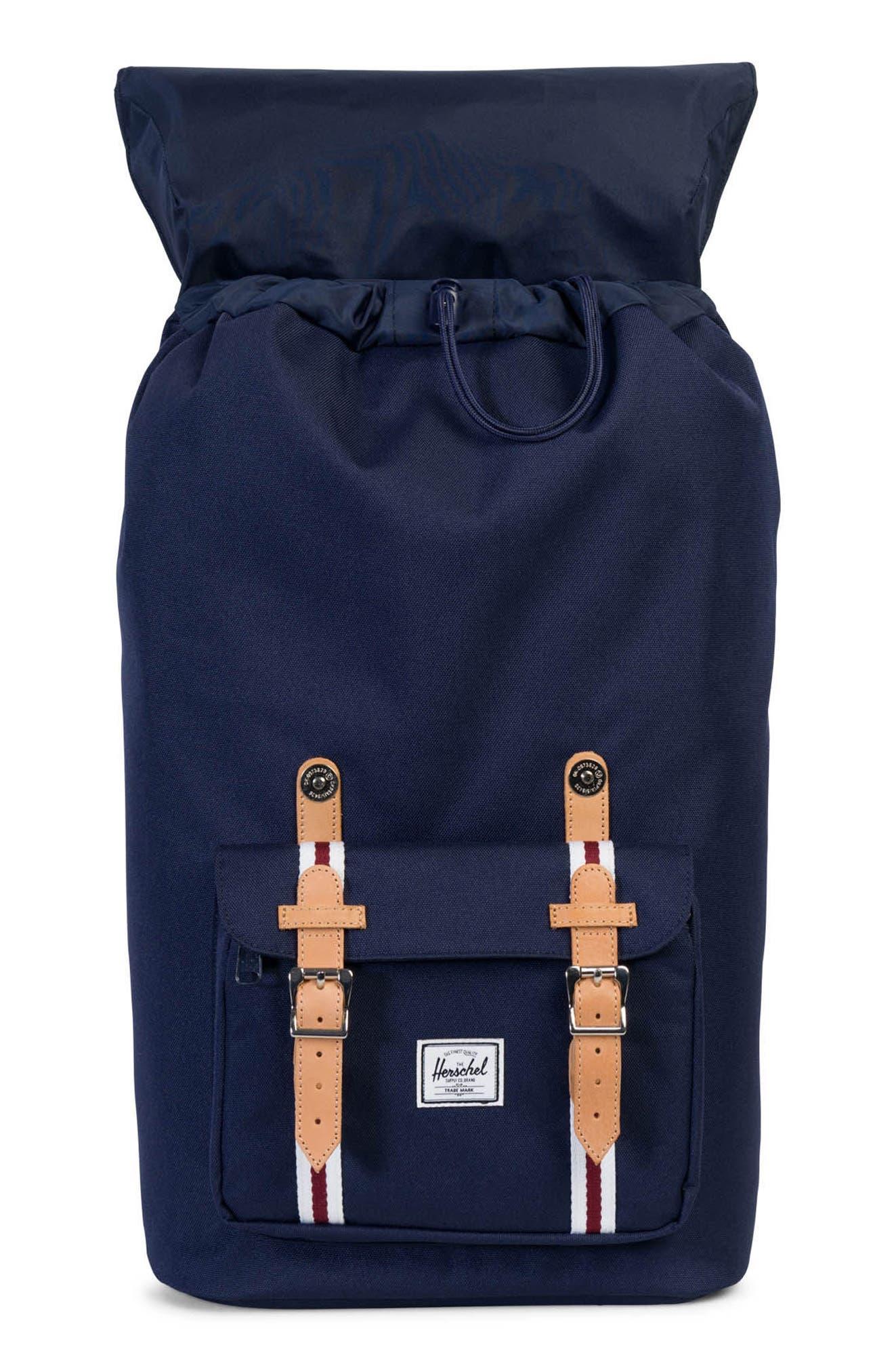 Little America Backpack,                             Alternate thumbnail 4, color,                             Peacoat/ White/ Wine