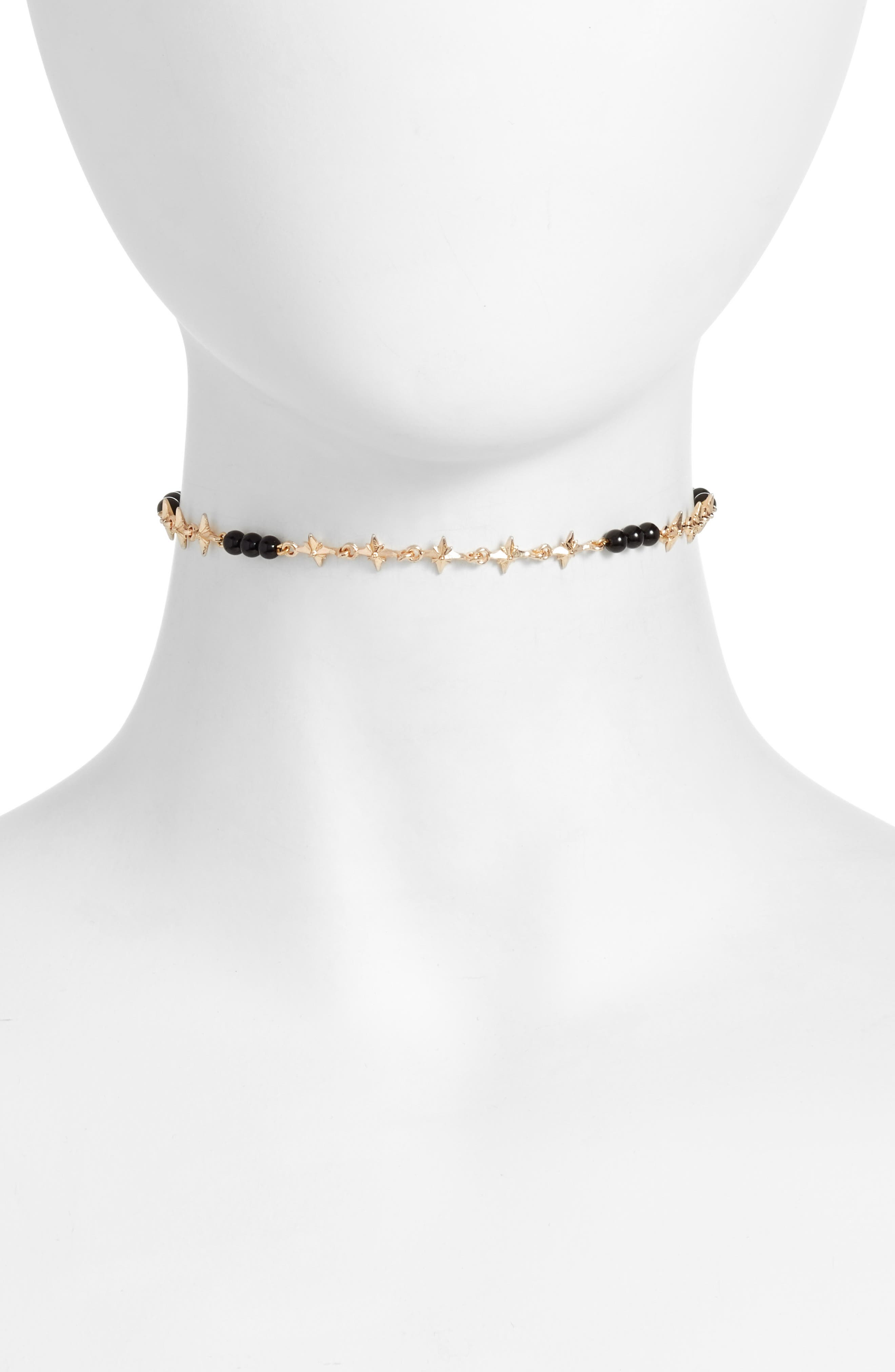 Star Chain Choker,                             Main thumbnail 1, color,                             Gold/ Onyx