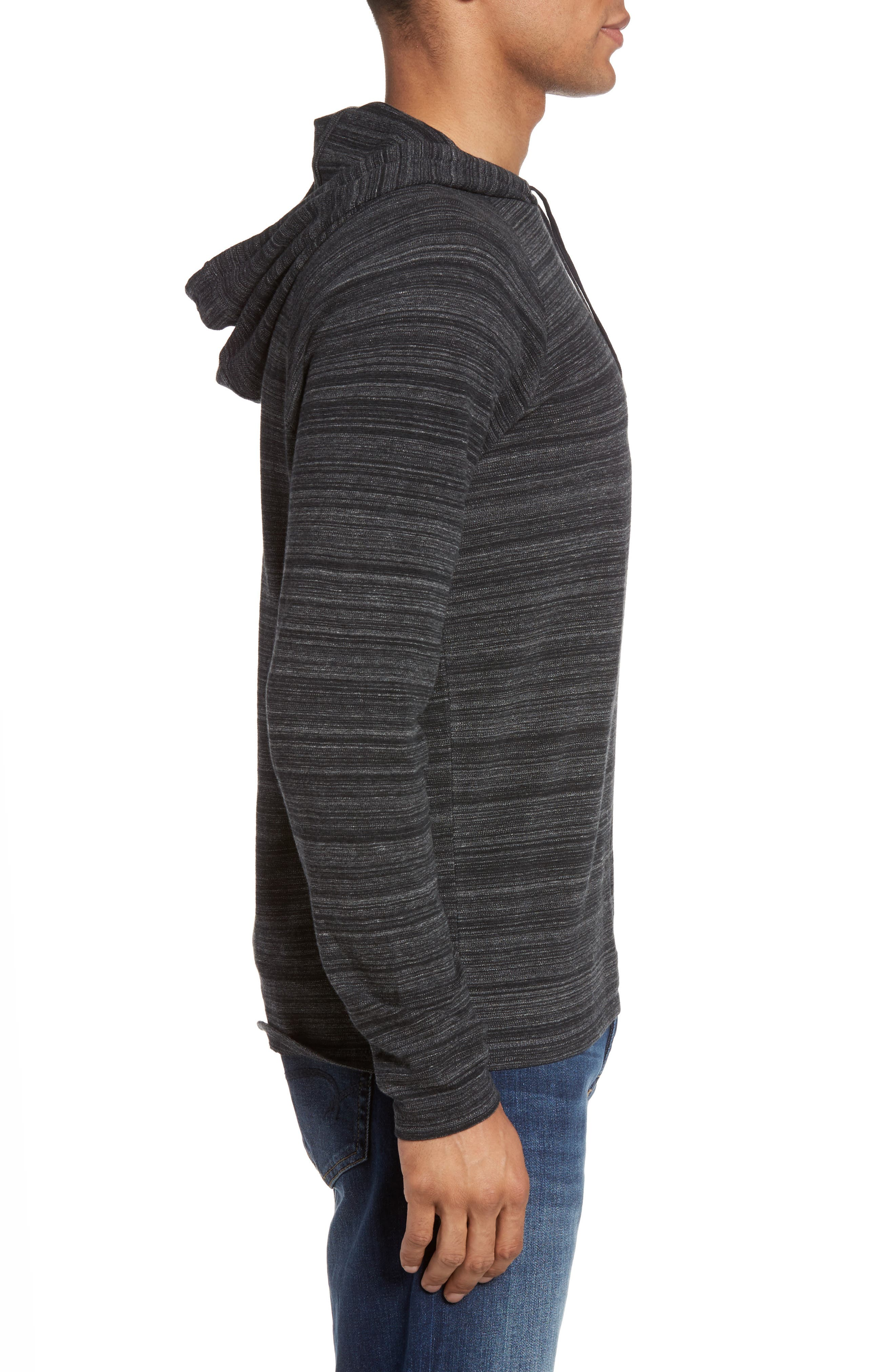 Striated Knit Hoodie,                             Alternate thumbnail 3, color,                             Black