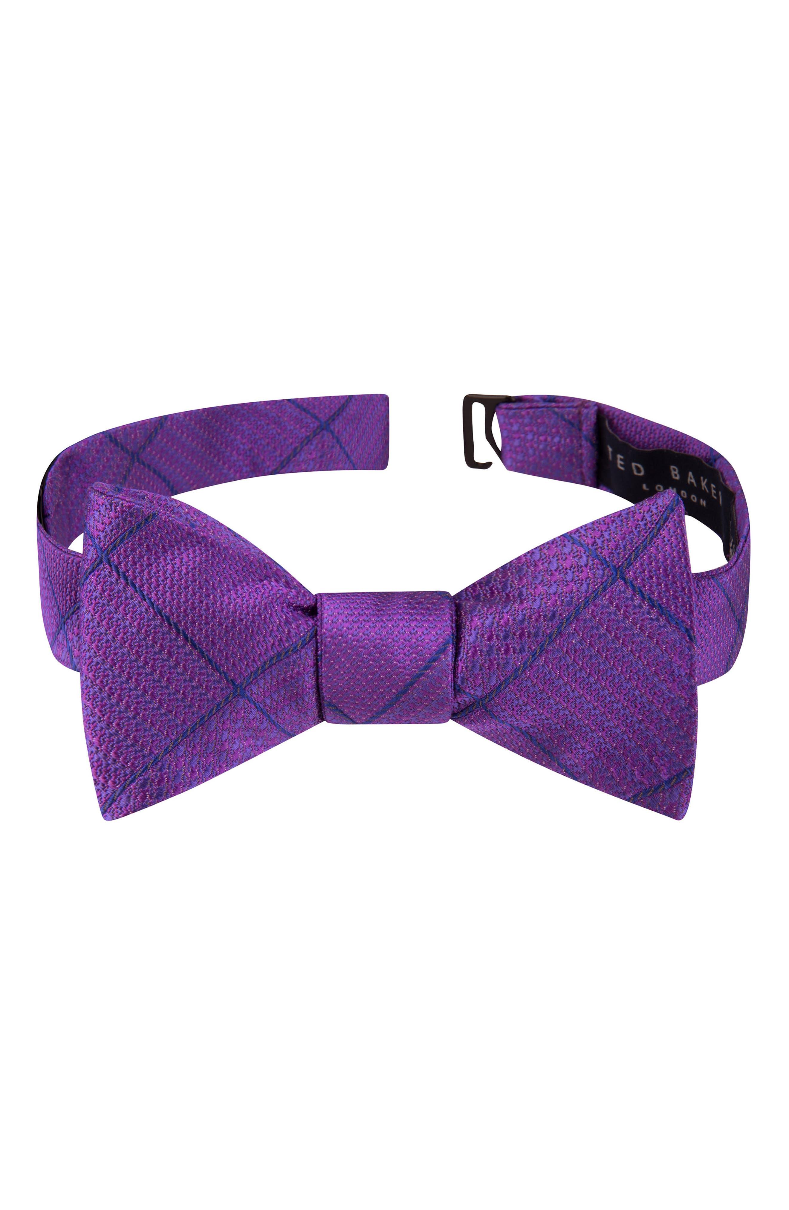 True Grid Check Silk Bow Tie,                         Main,                         color, Purple
