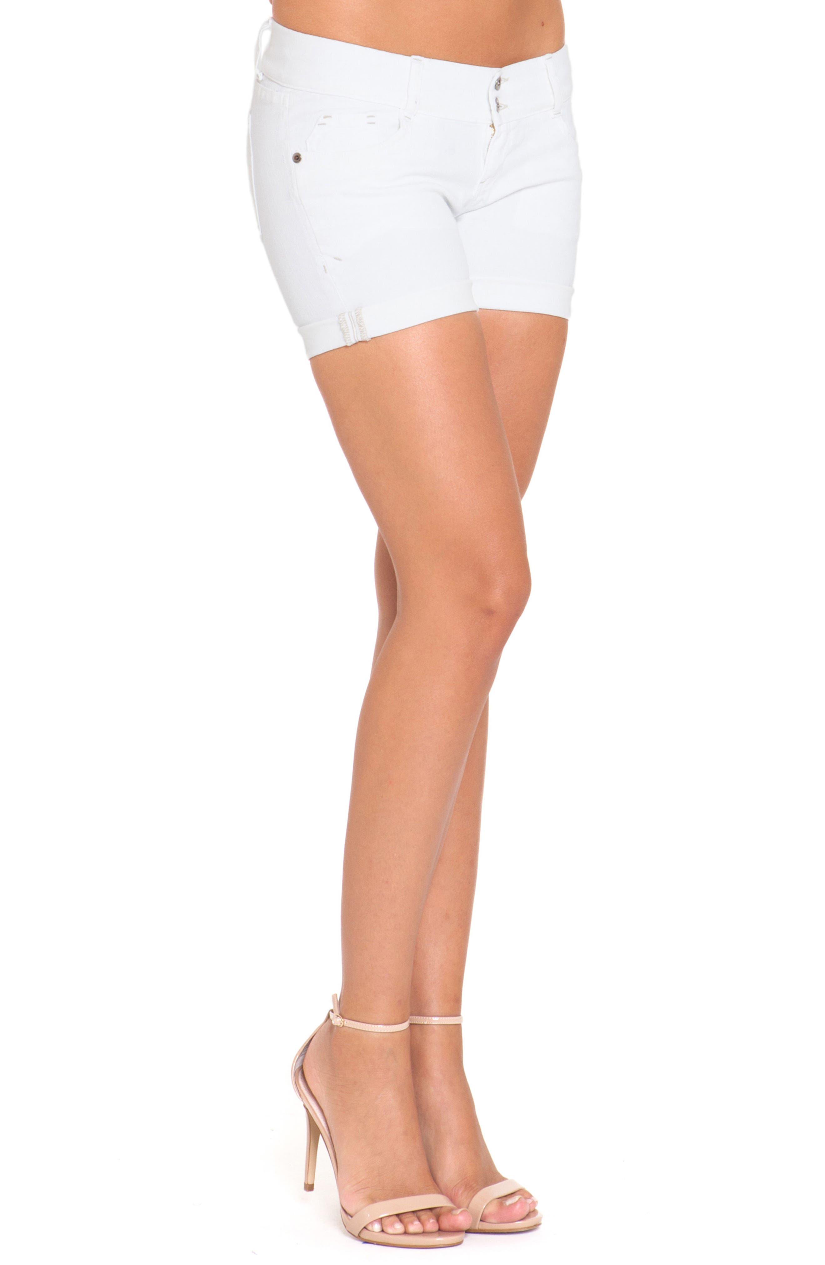 Denim Maternity Shorts,                         Main,                         color, White