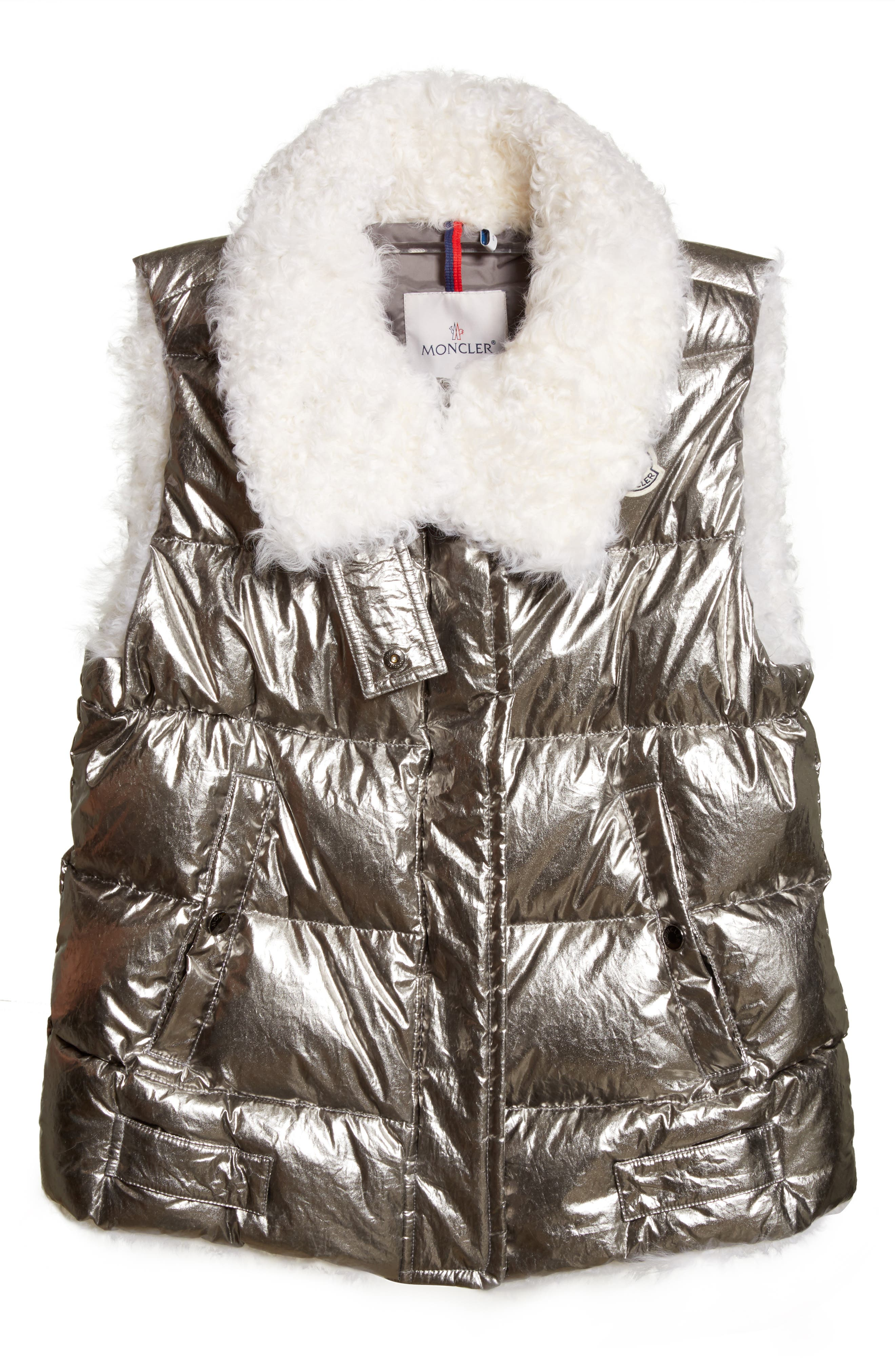 Kerria Metallic Down Vest with Genuine Shearling Trim,                             Alternate thumbnail 6, color,                             Silver