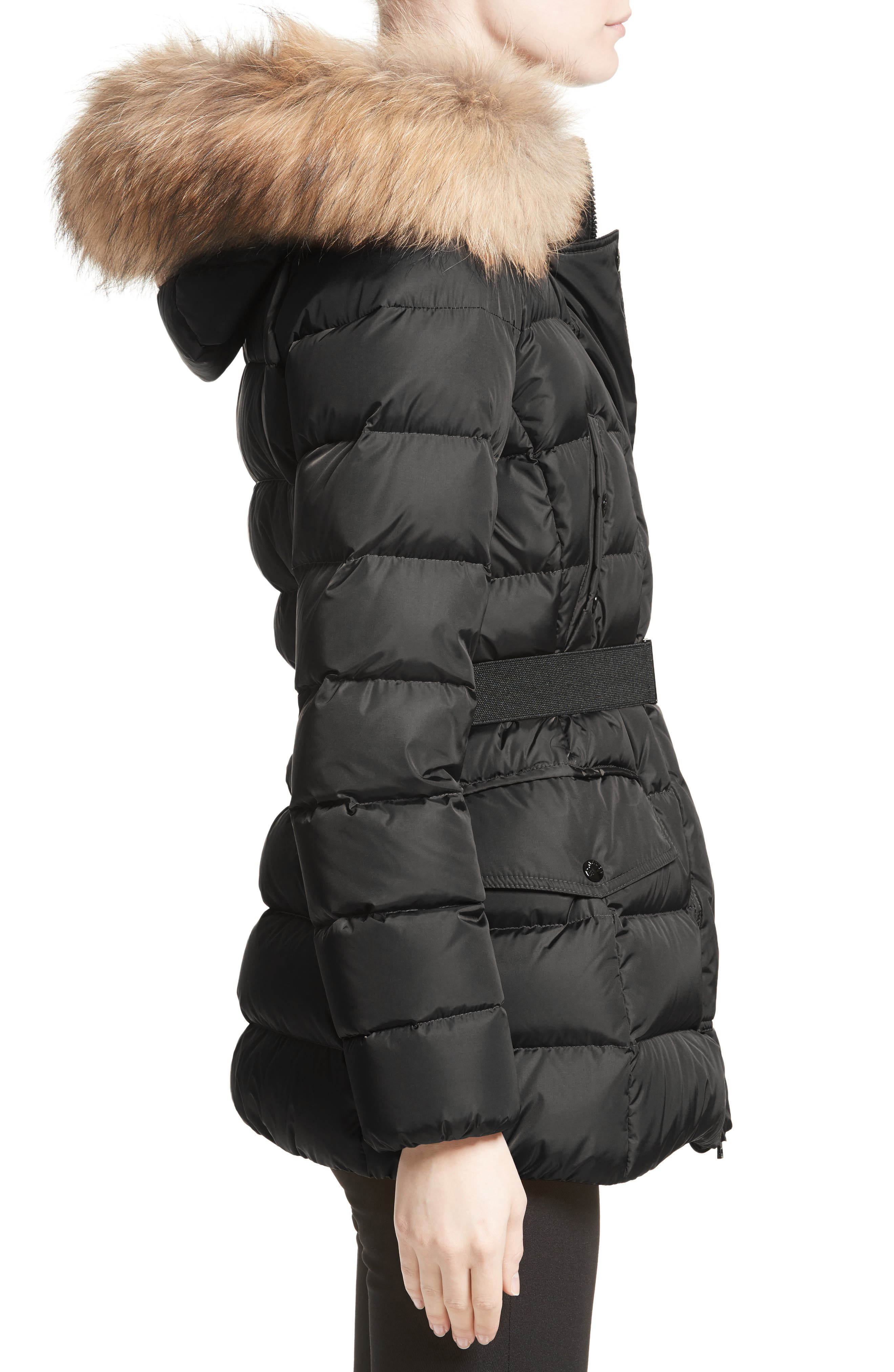 Clio Belted Down Puffer Coat with Removable Genuine Fox Fur Trim,                             Alternate thumbnail 3, color,                             Black