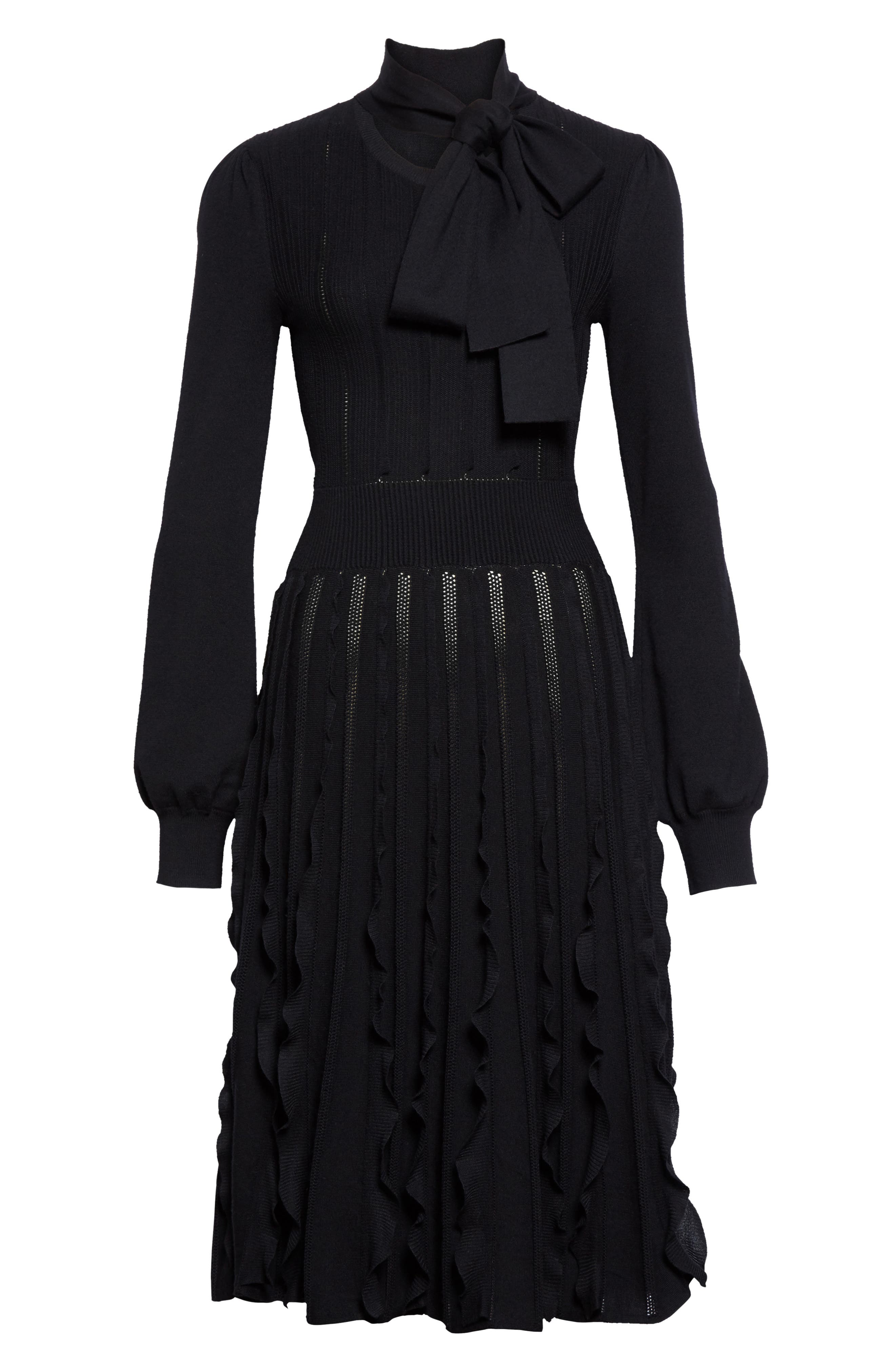 Ruffle Skirt Wool Knit Dress,                             Alternate thumbnail 4, color,                             Black