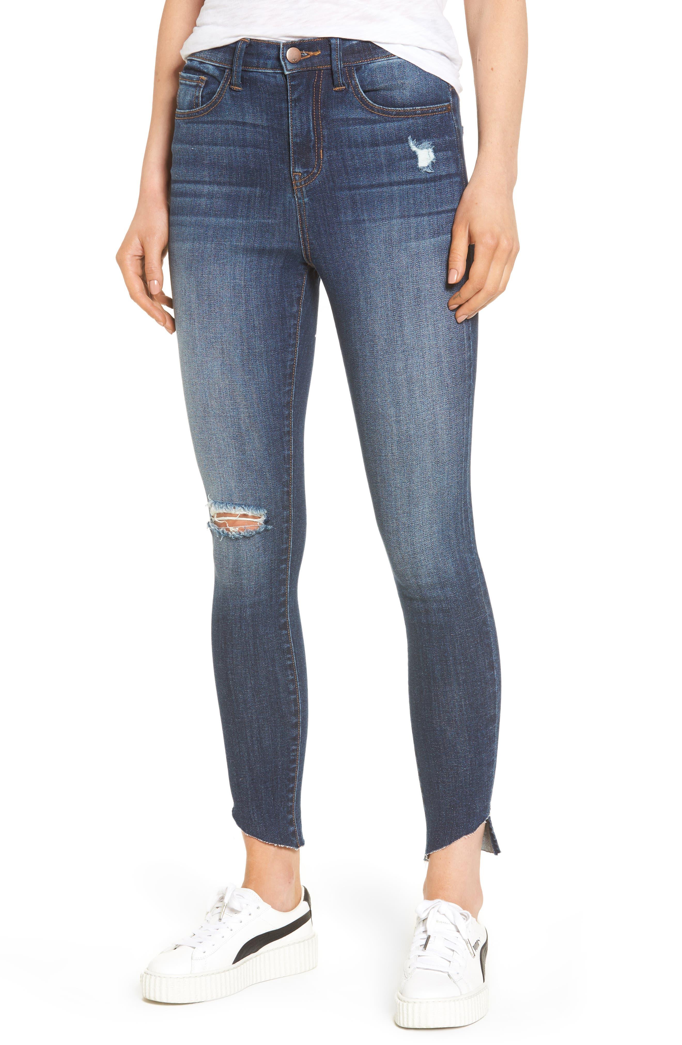 Angled Step Hem High Waist Skinny Jeans,                         Main,                         color, Med Wash