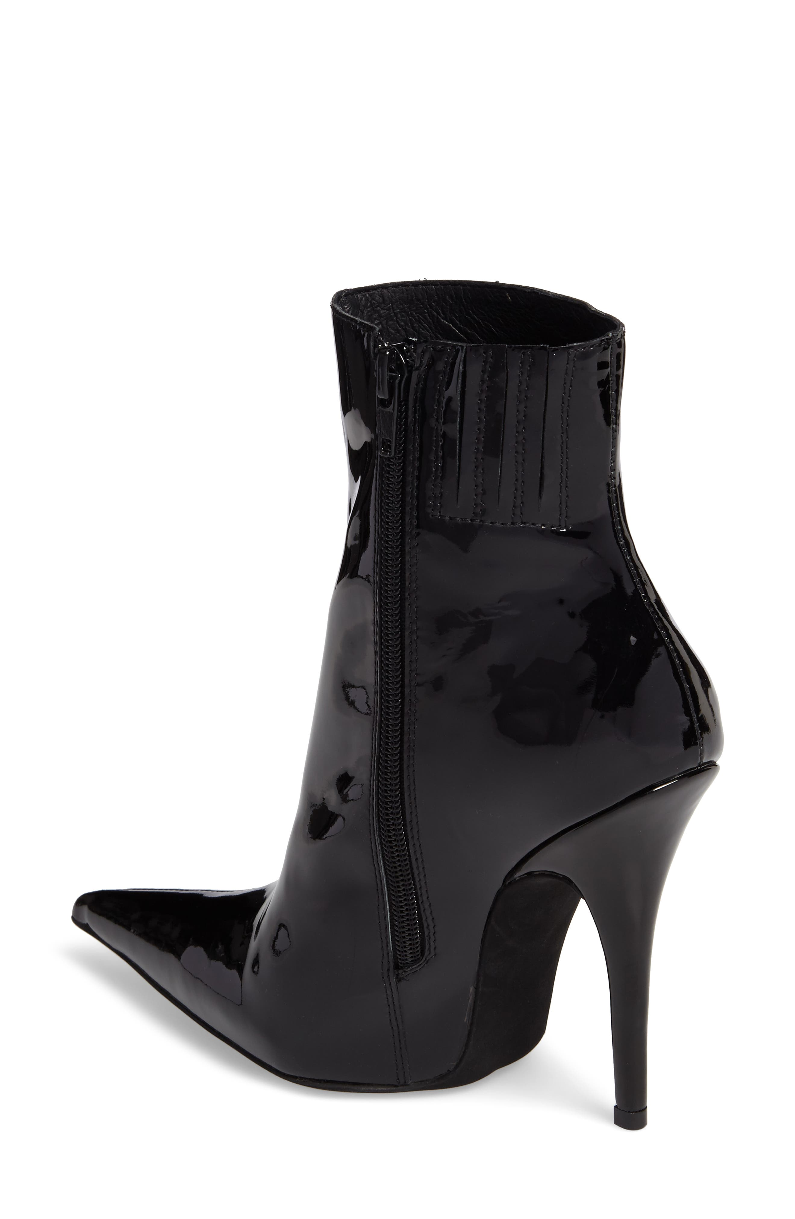 Vedette Pointy Toe Booties,                             Alternate thumbnail 2, color,                             Black Patent