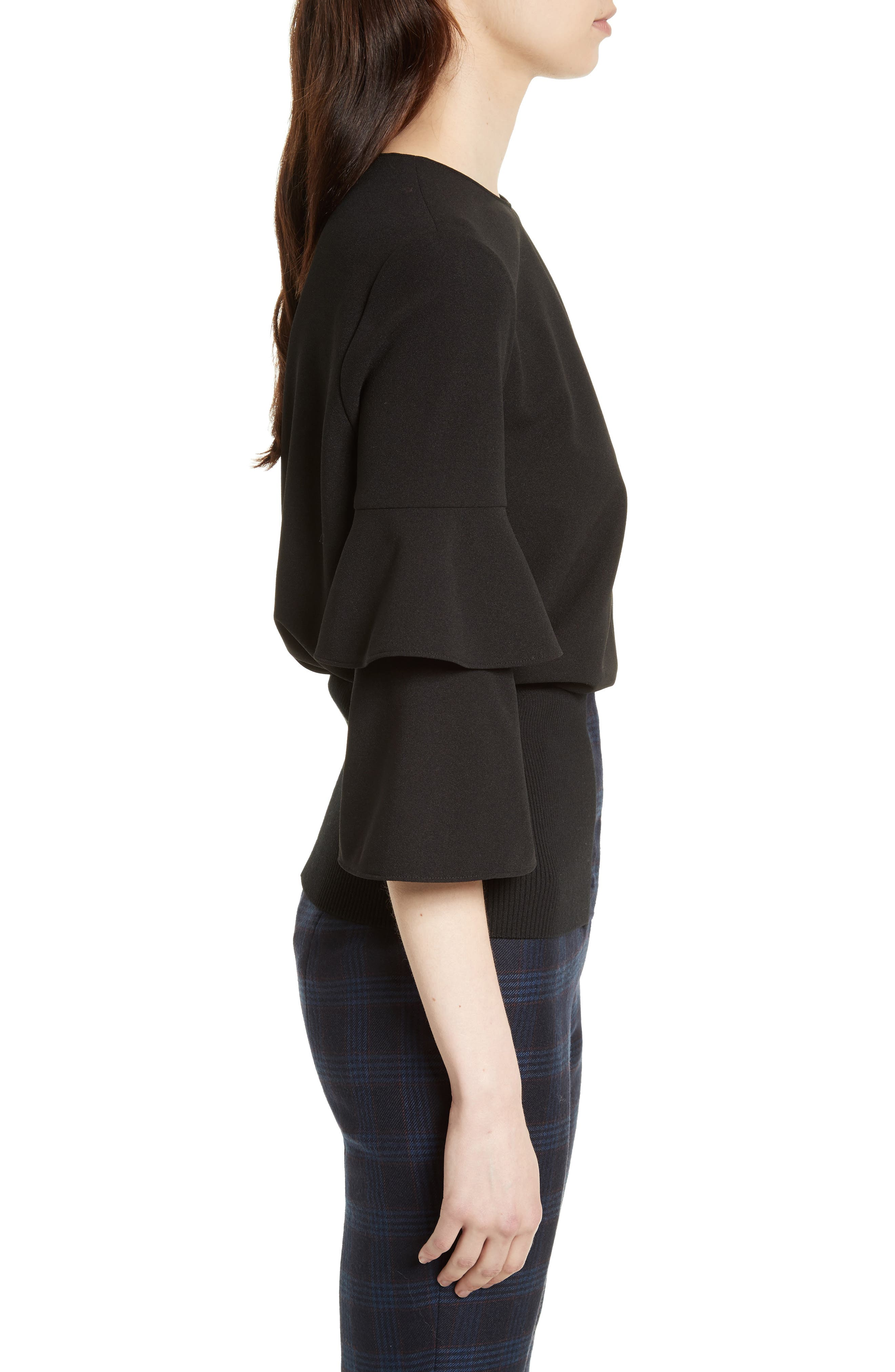 Bell Sleeve Stretch Crepe Top,                             Alternate thumbnail 3, color,                             Black