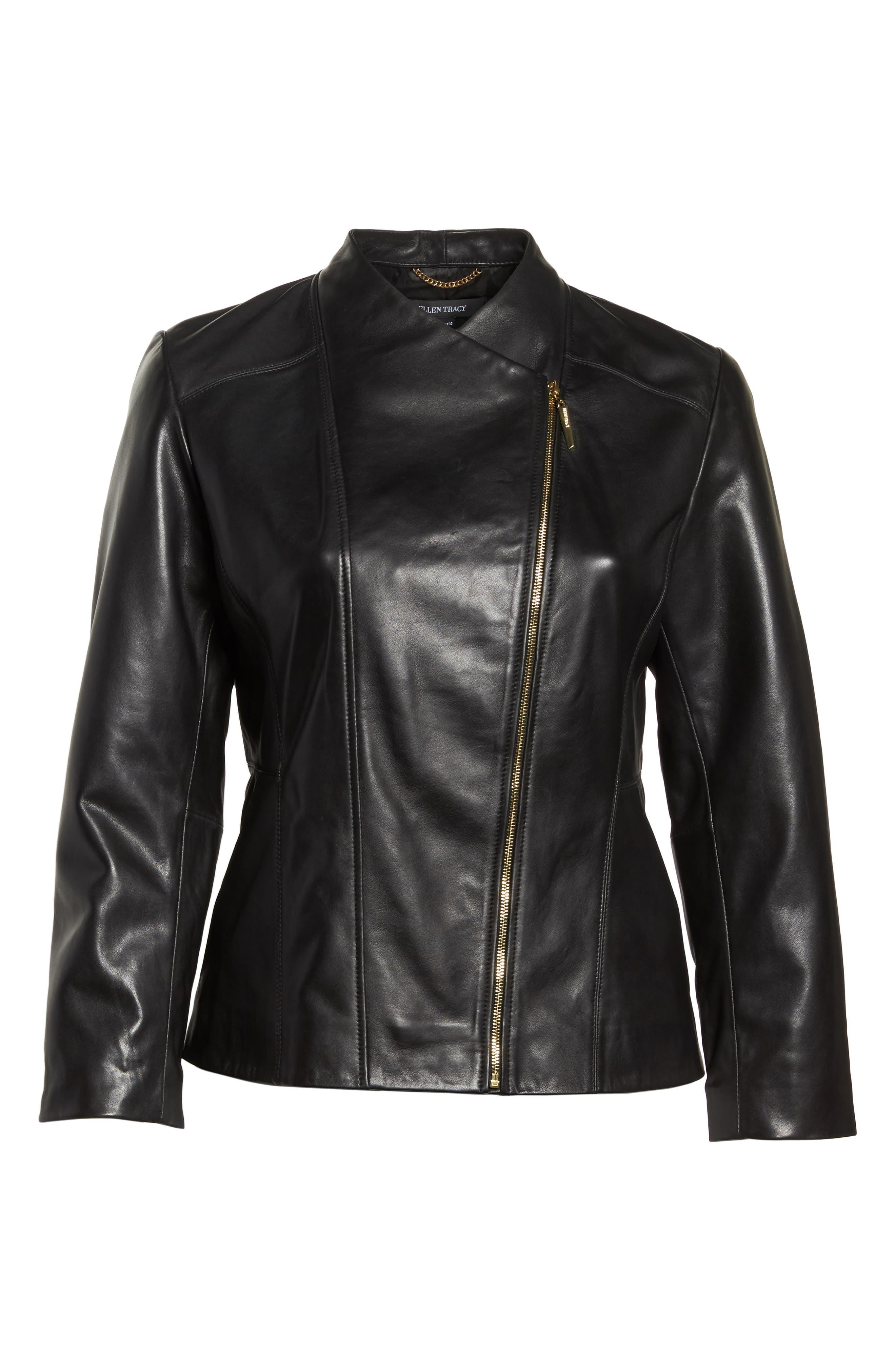 Asymmetrical Zip Leather Jacket,                             Alternate thumbnail 6, color,                             Black