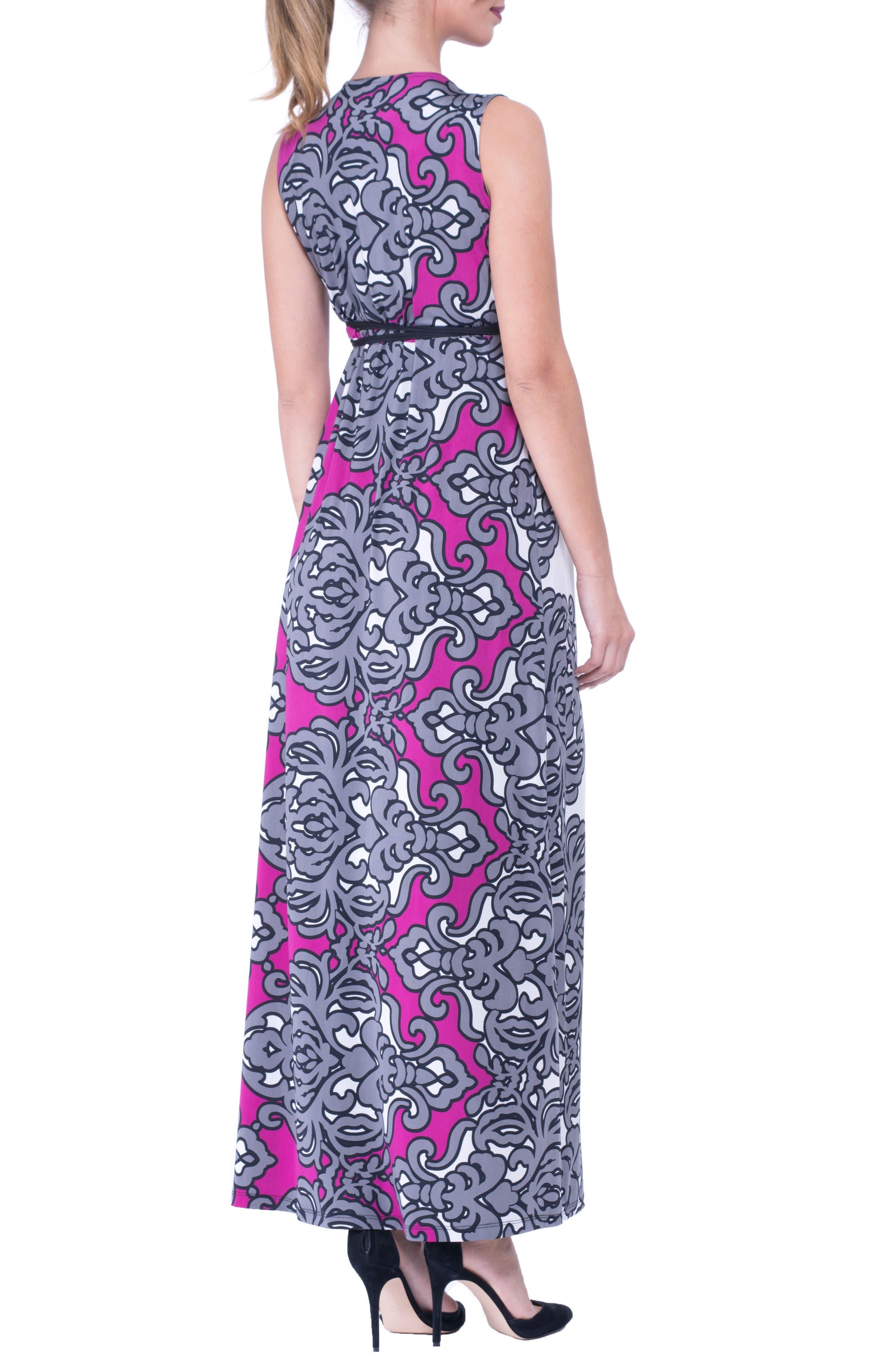 Print Maxi Maternity Dress,                             Alternate thumbnail 2, color,                             Grey/ White Print