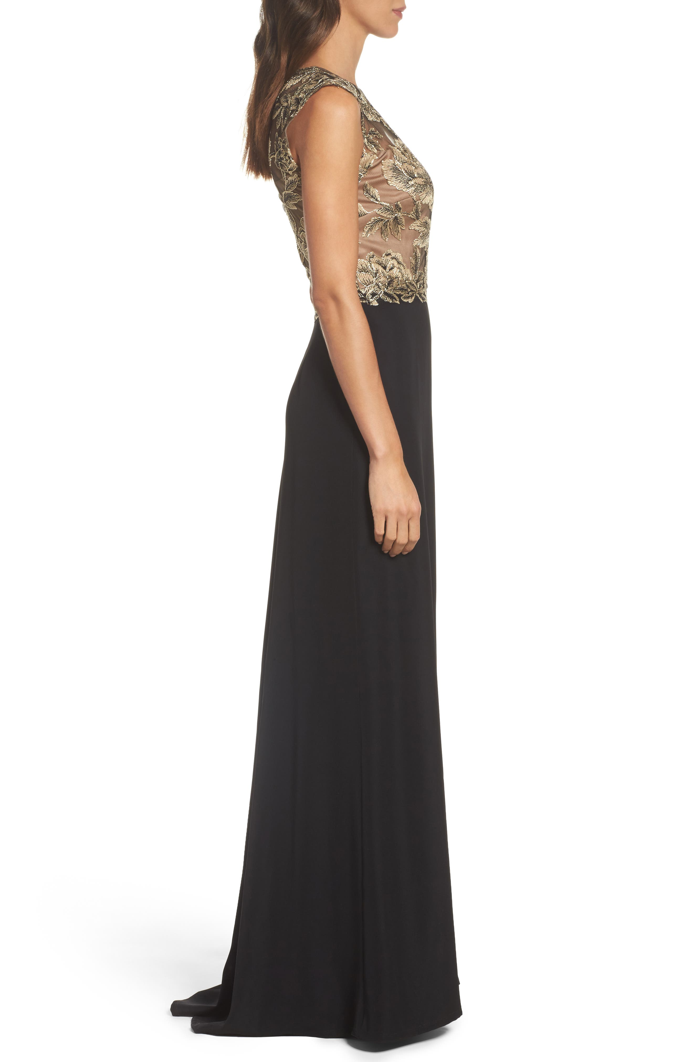 Embroidered Mesh & Crepe Gown,                             Alternate thumbnail 3, color,                             Light Peach/ Black