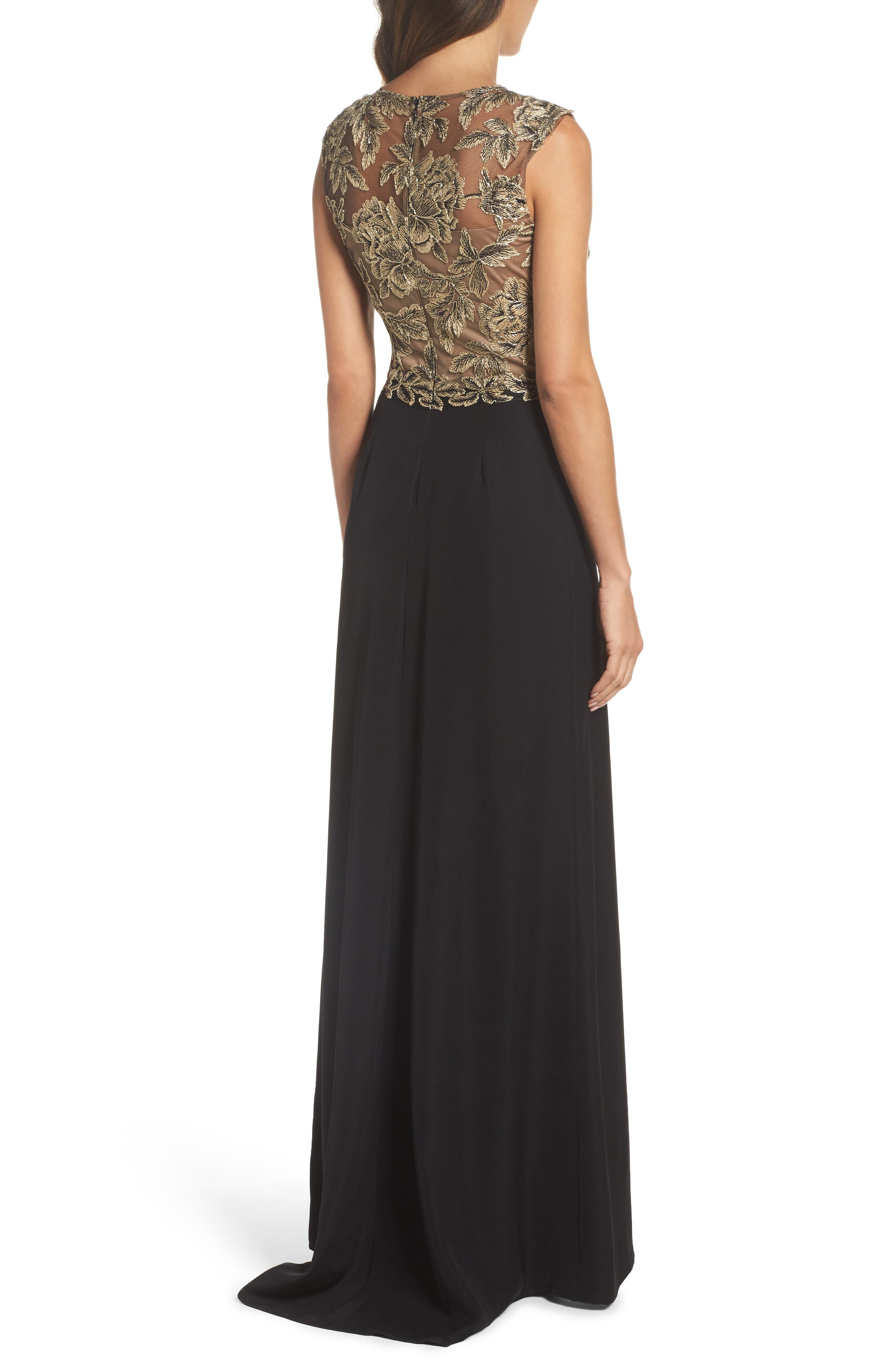 Embroidered Mesh & Crepe Gown,                             Alternate thumbnail 2, color,                             Light Peach/ Black