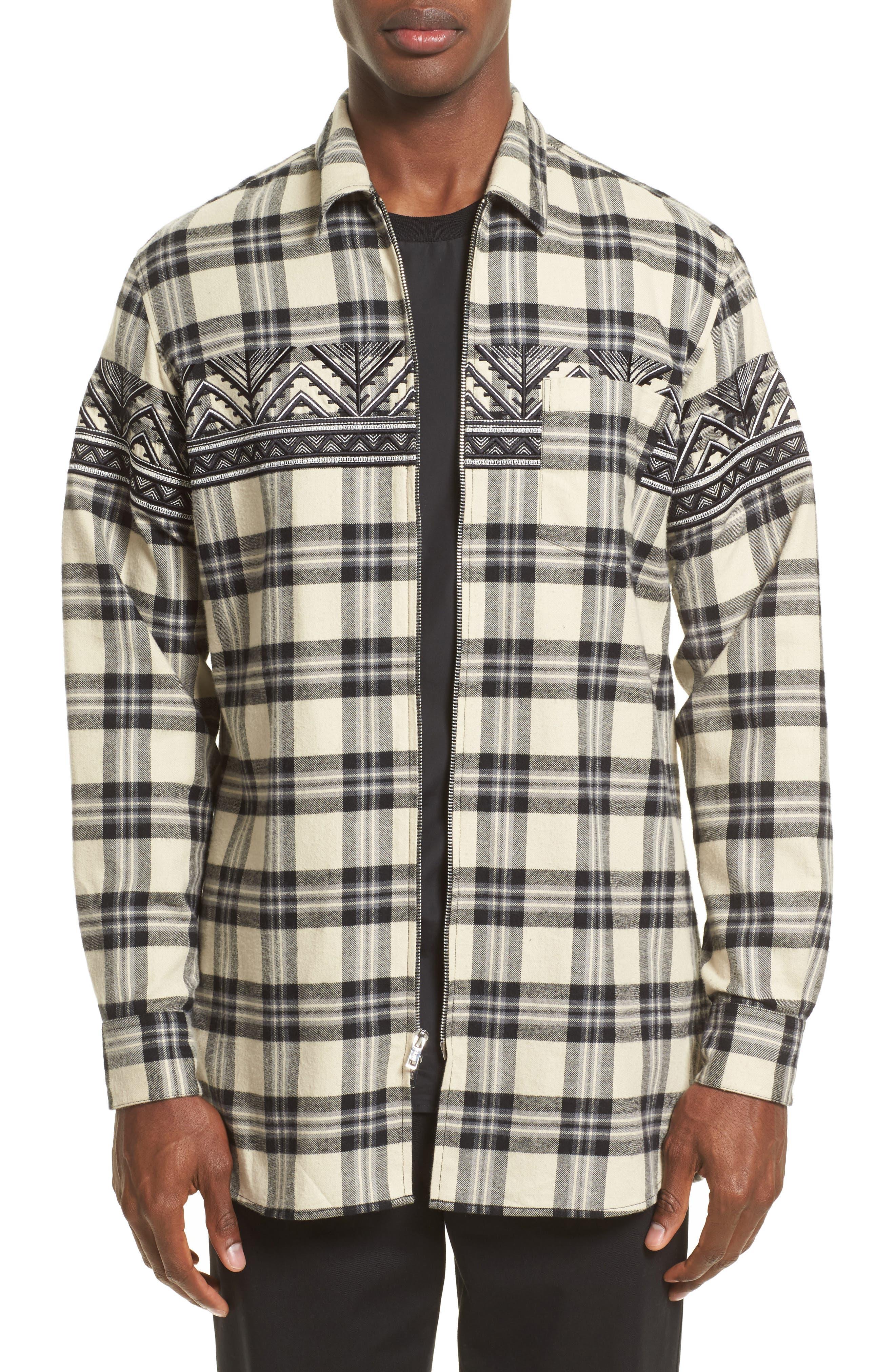 VIP Elongated Zip Flannel Shirt,                         Main,                         color, Alabaster