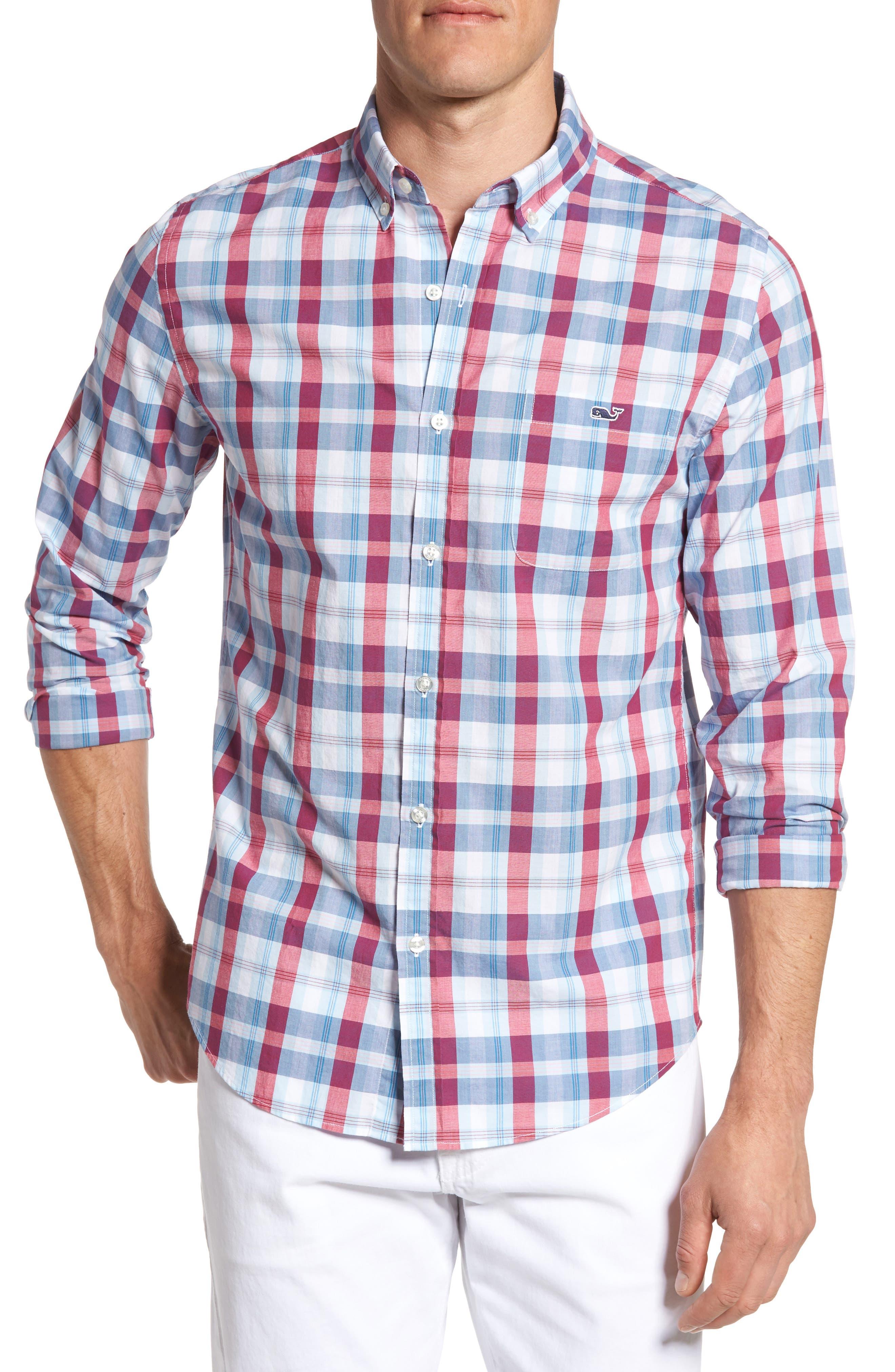 Tucker Patriots Point Slim Fit Plaid Sport Shirt,                         Main,                         color, Pomegranate