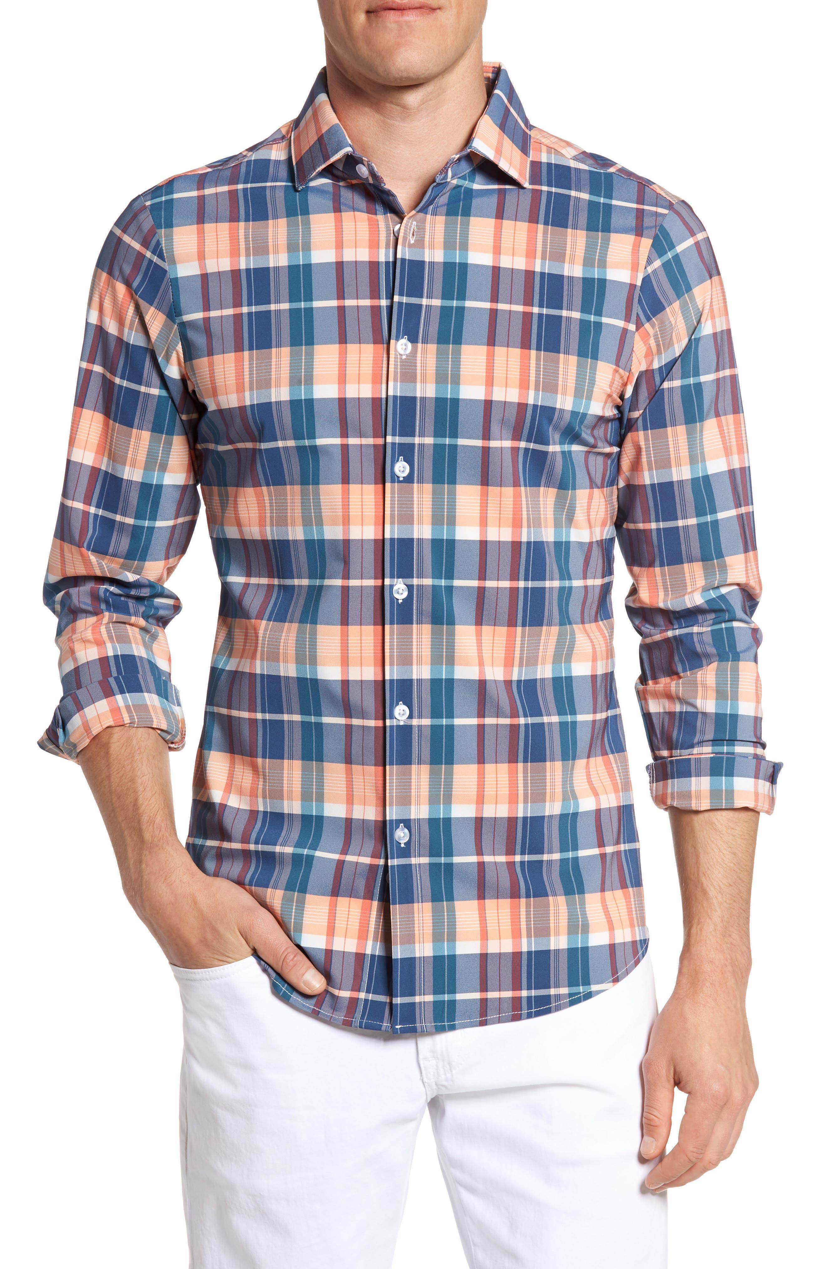 Main Image - Mizzen+Main Potomac Madras Performance Sport Shirt (Regular & Tall)