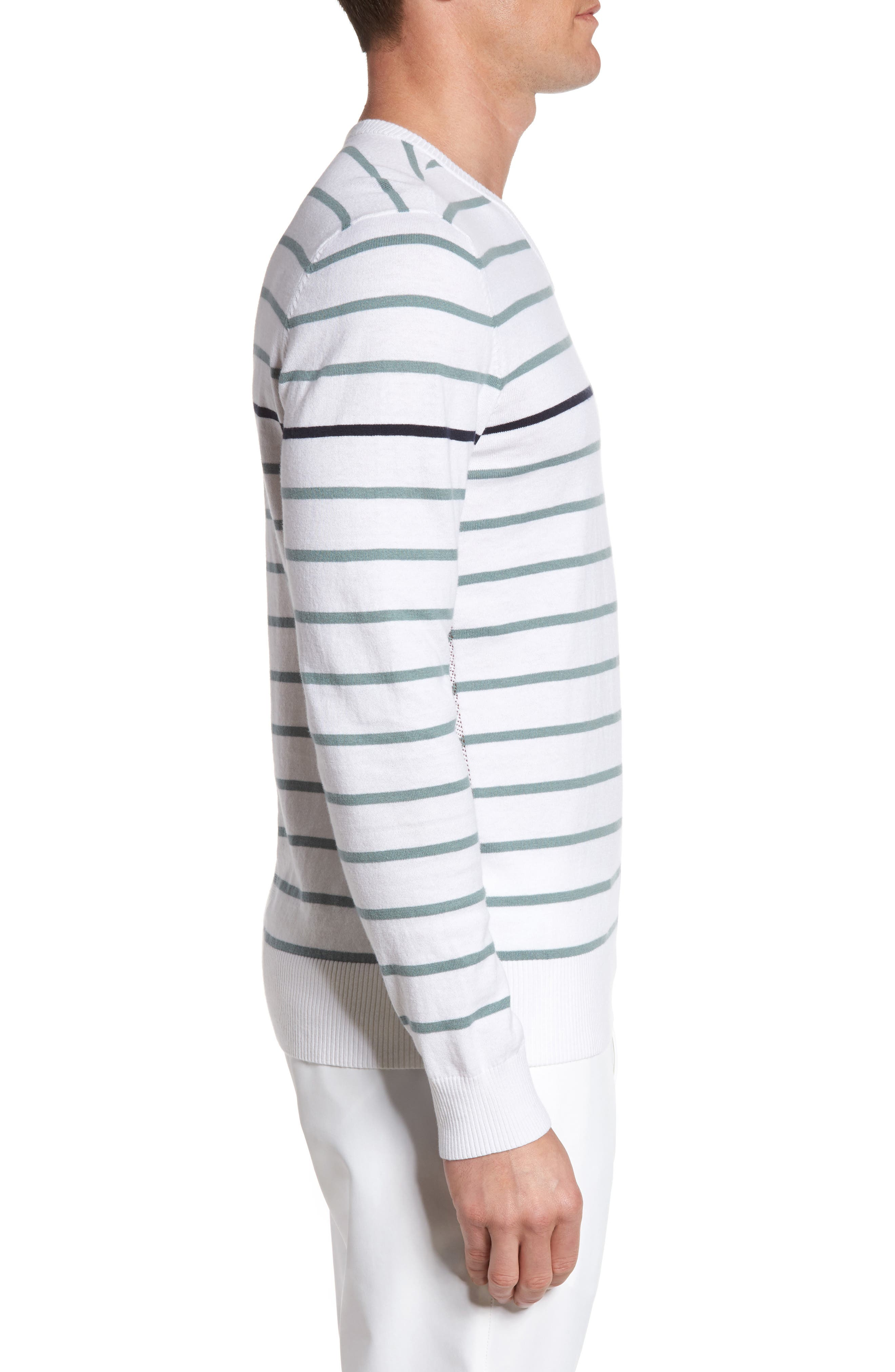 The Farrell Stripe V-Neck Sweater,                             Alternate thumbnail 3, color,                             White/ Agave Green/ Naval Blue
