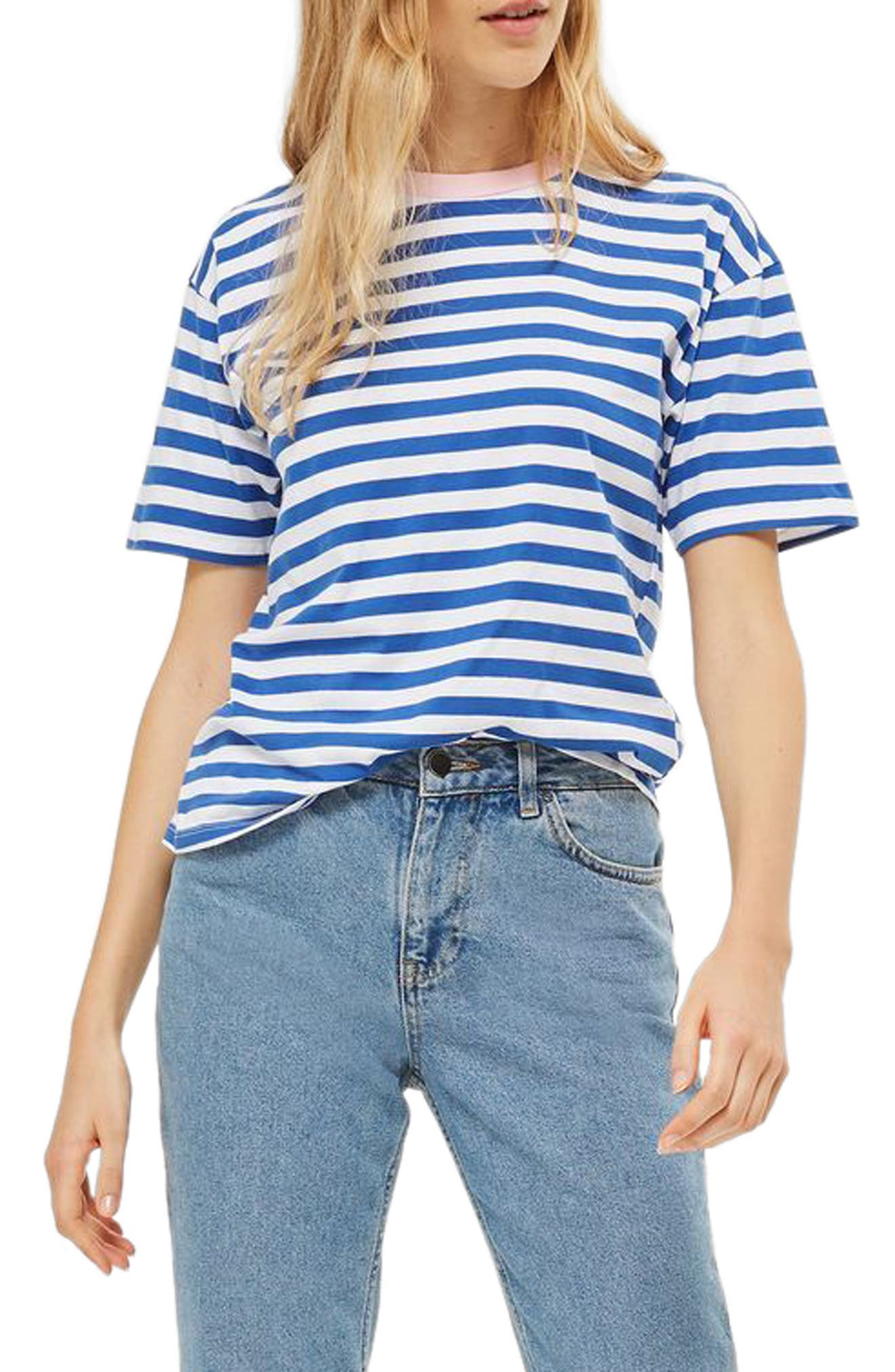 Alternate Image 1 Selected - Topshop Contrast Neck Stripe Tee