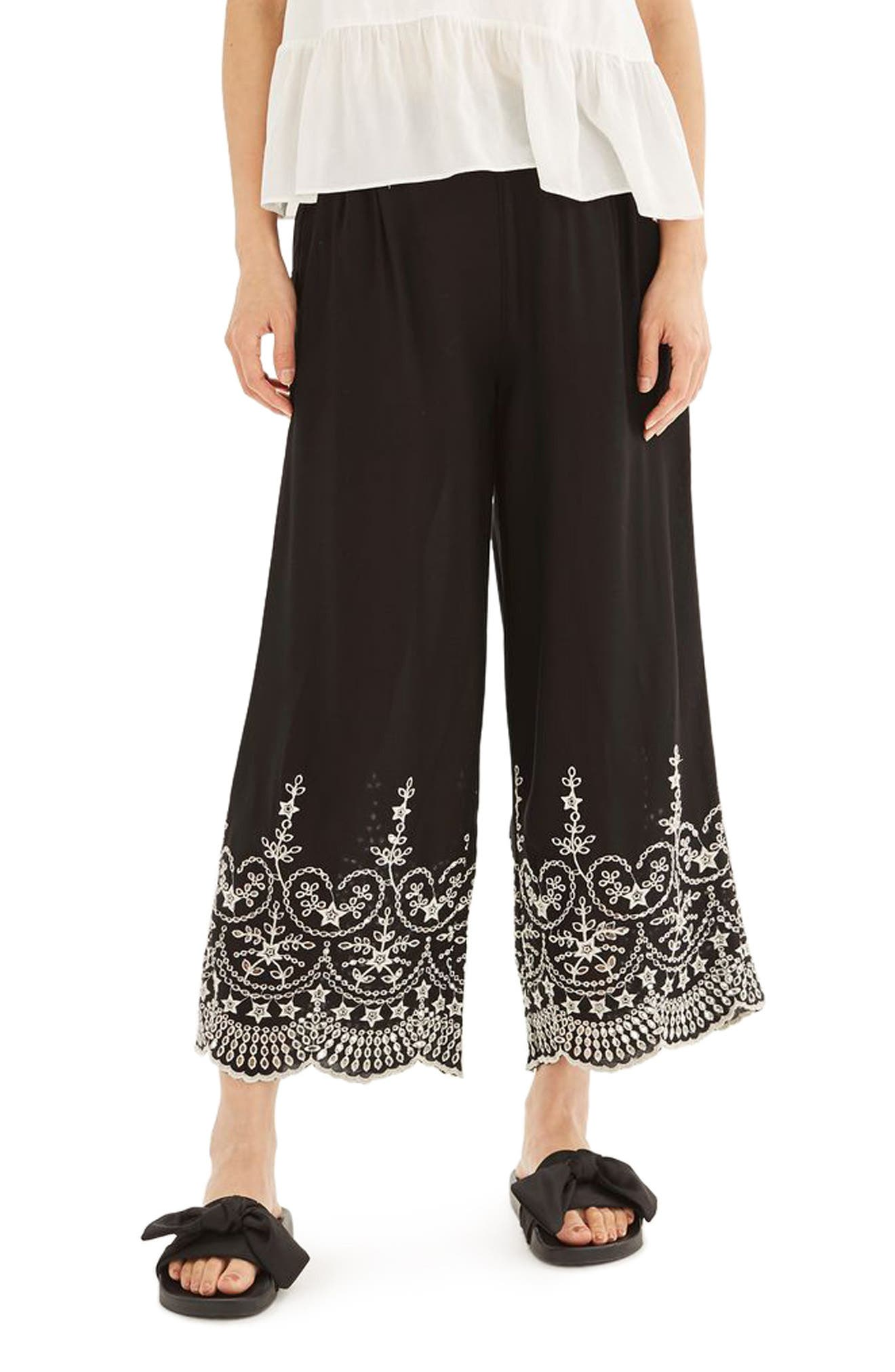 Alternate Image 1 Selected - Topshop Embroidered Leg Trousers