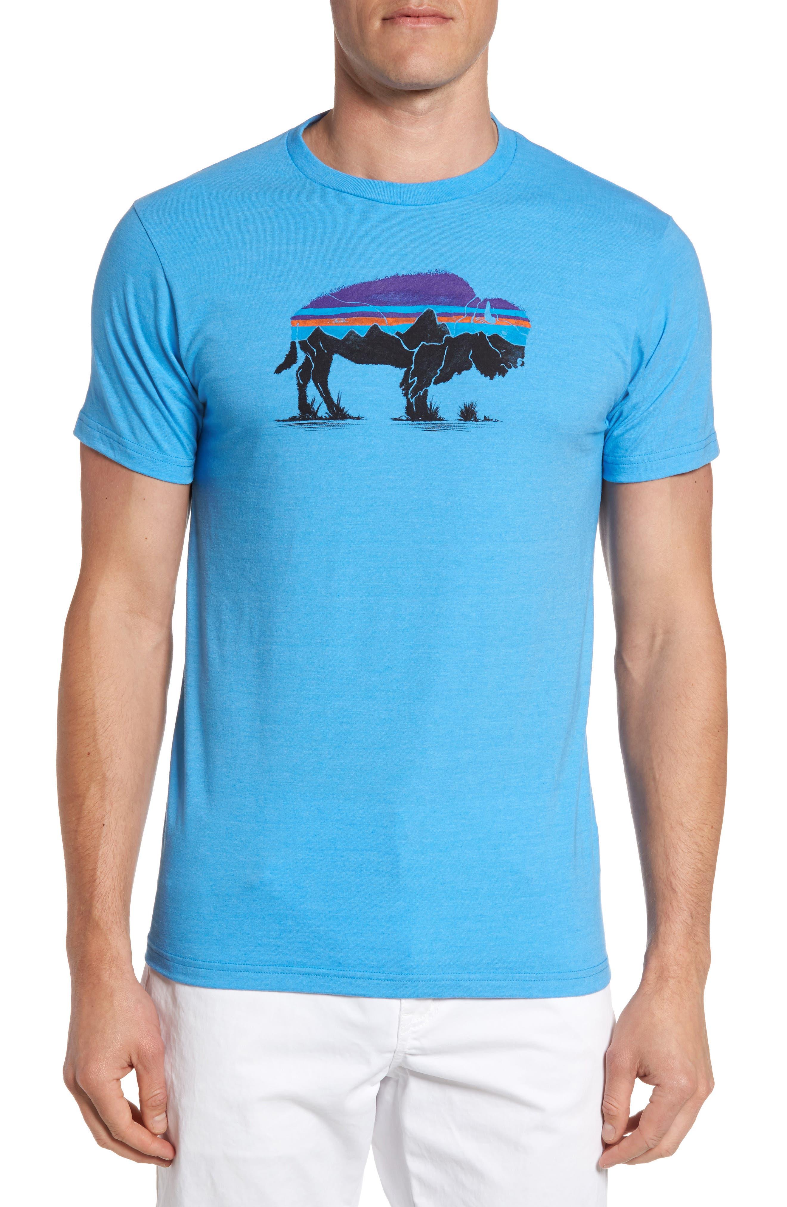 Fitz Roy Bison T-Shirt,                         Main,                         color, Radar Blue