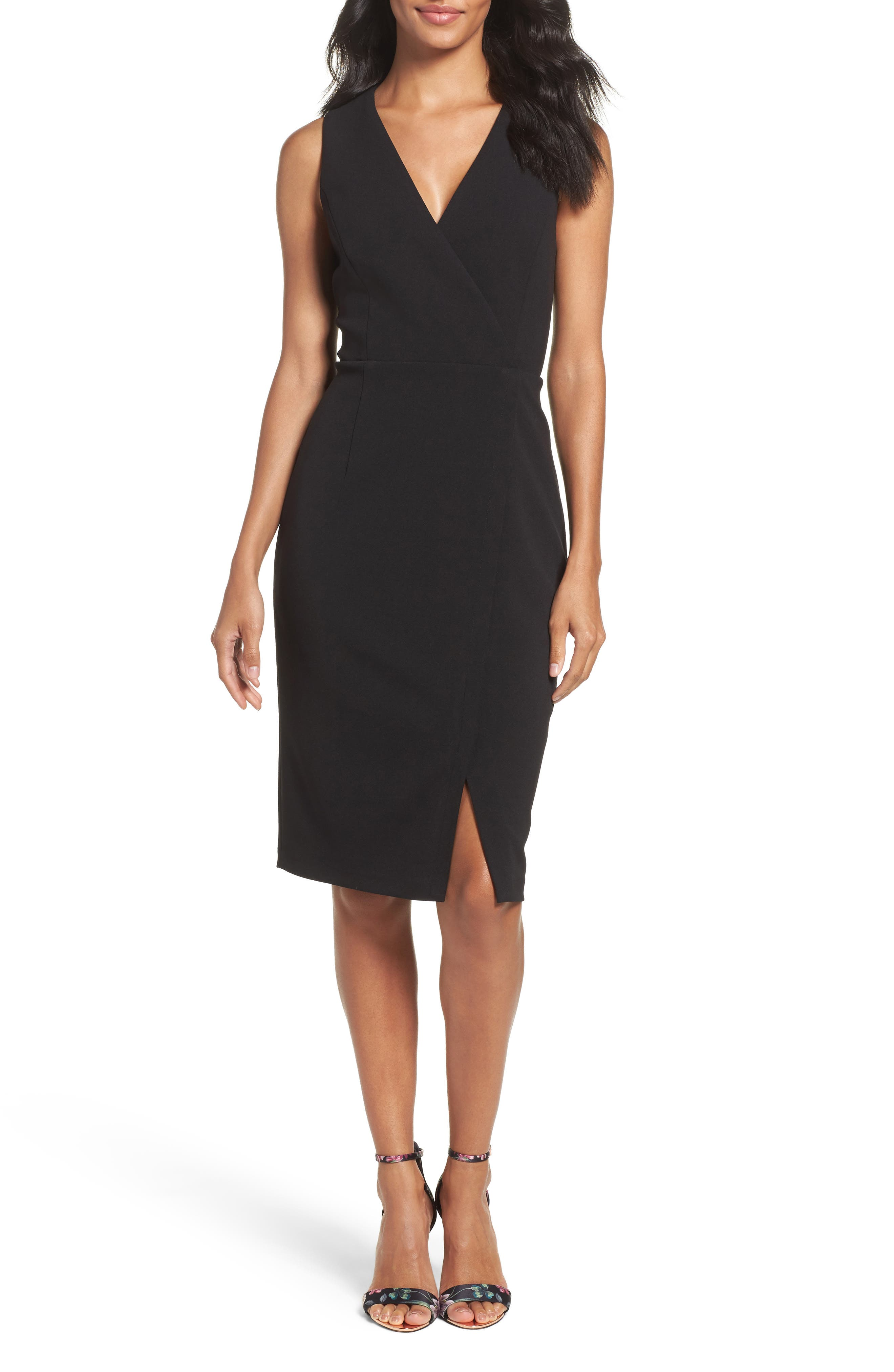 Crepe Sheath Dress,                         Main,                         color, Black