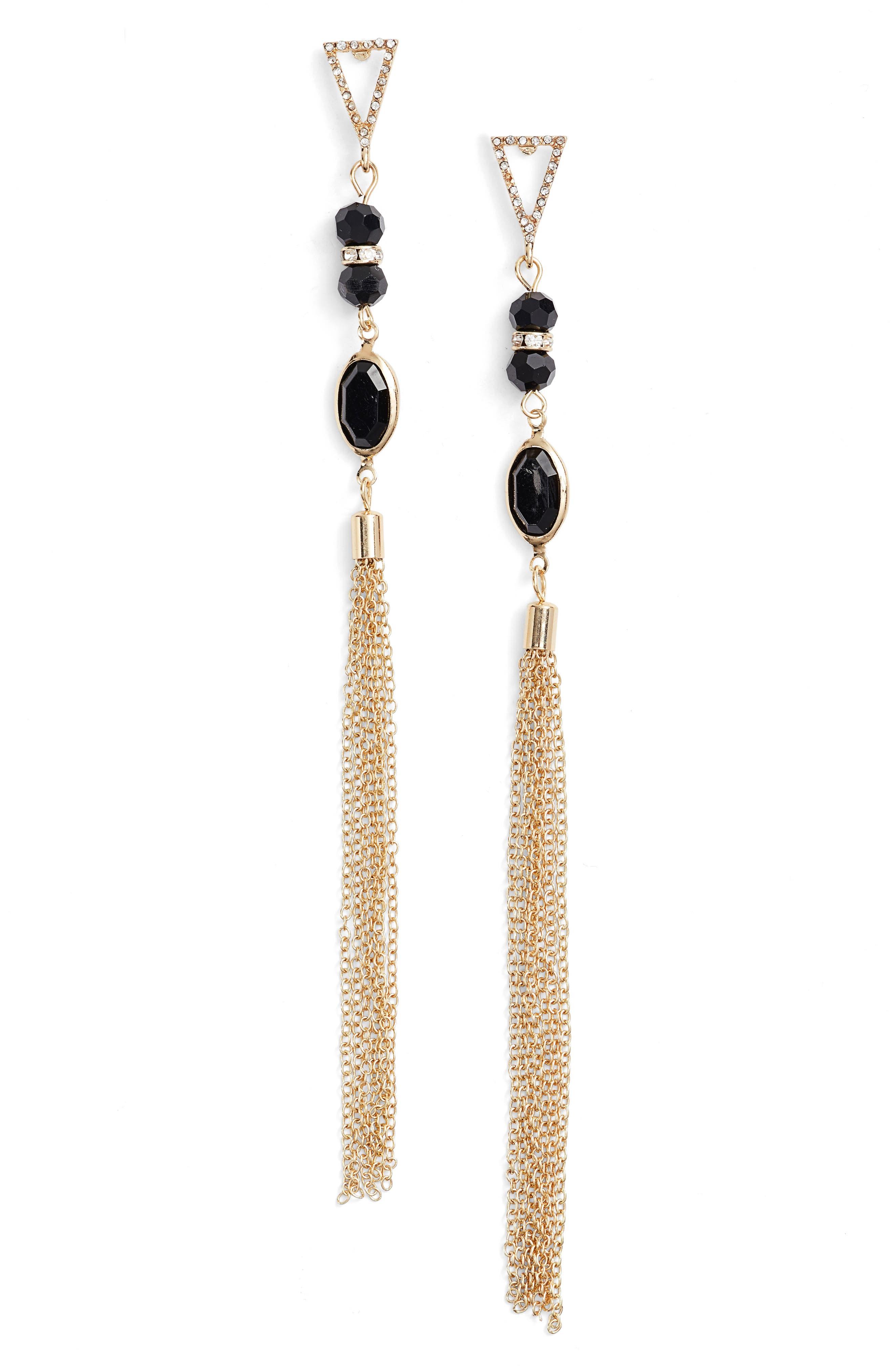 Ettika Chain Tassel Drop Earrings
