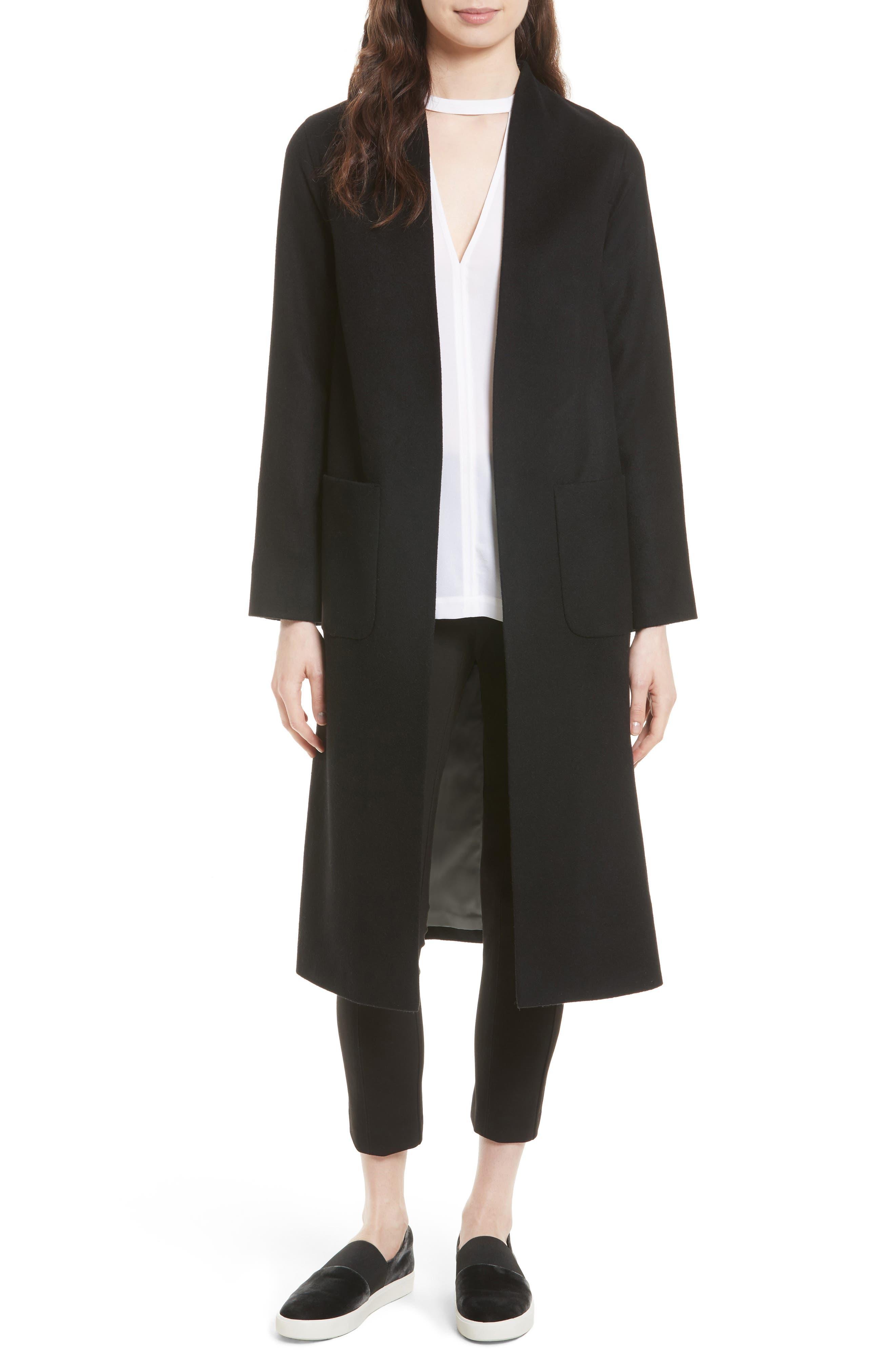 Wool & Cashmere Longline Coat,                         Main,                         color, Black