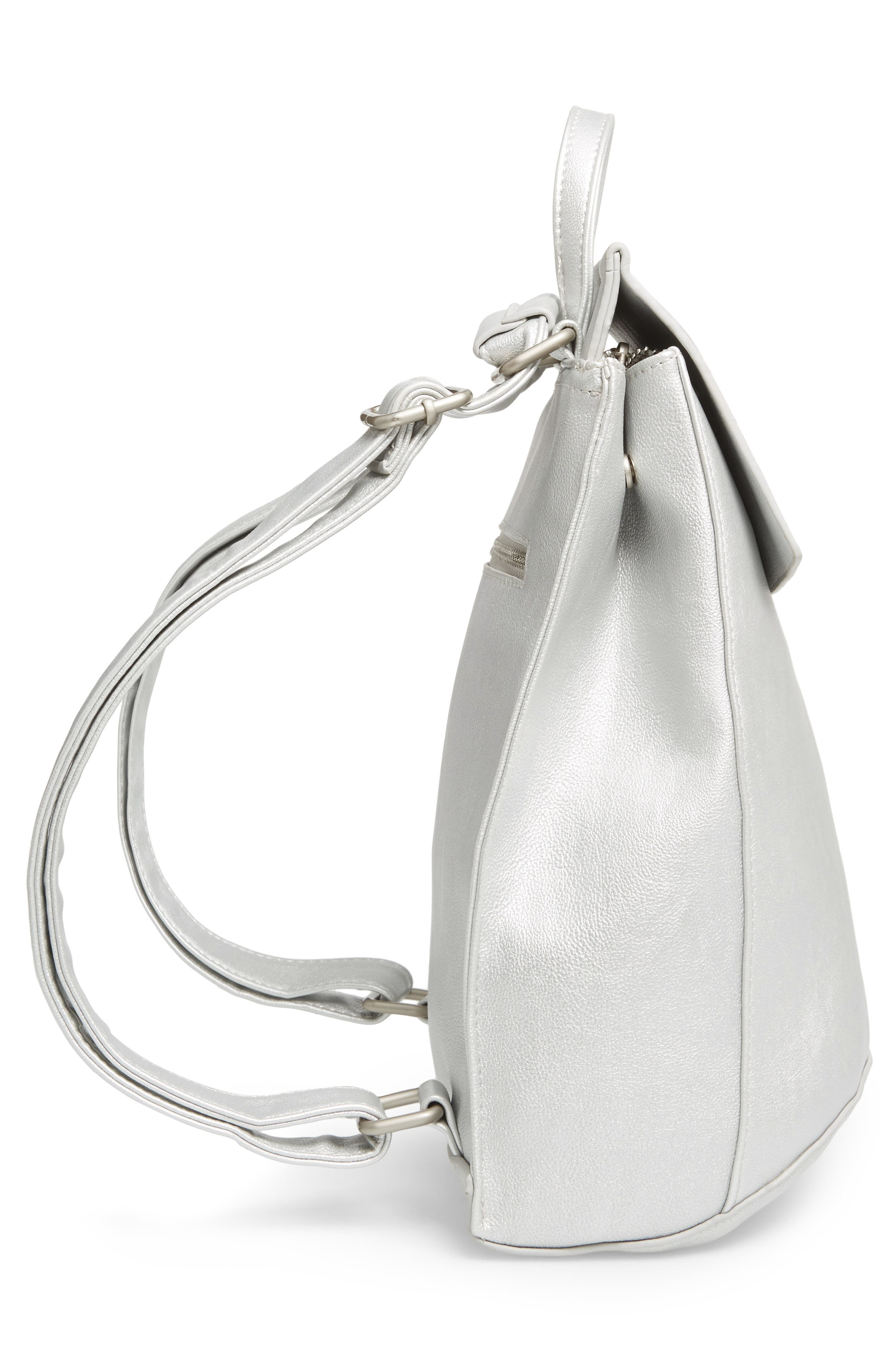Faux Leather Convertible Backpack,                             Alternate thumbnail 4, color,                             Silver