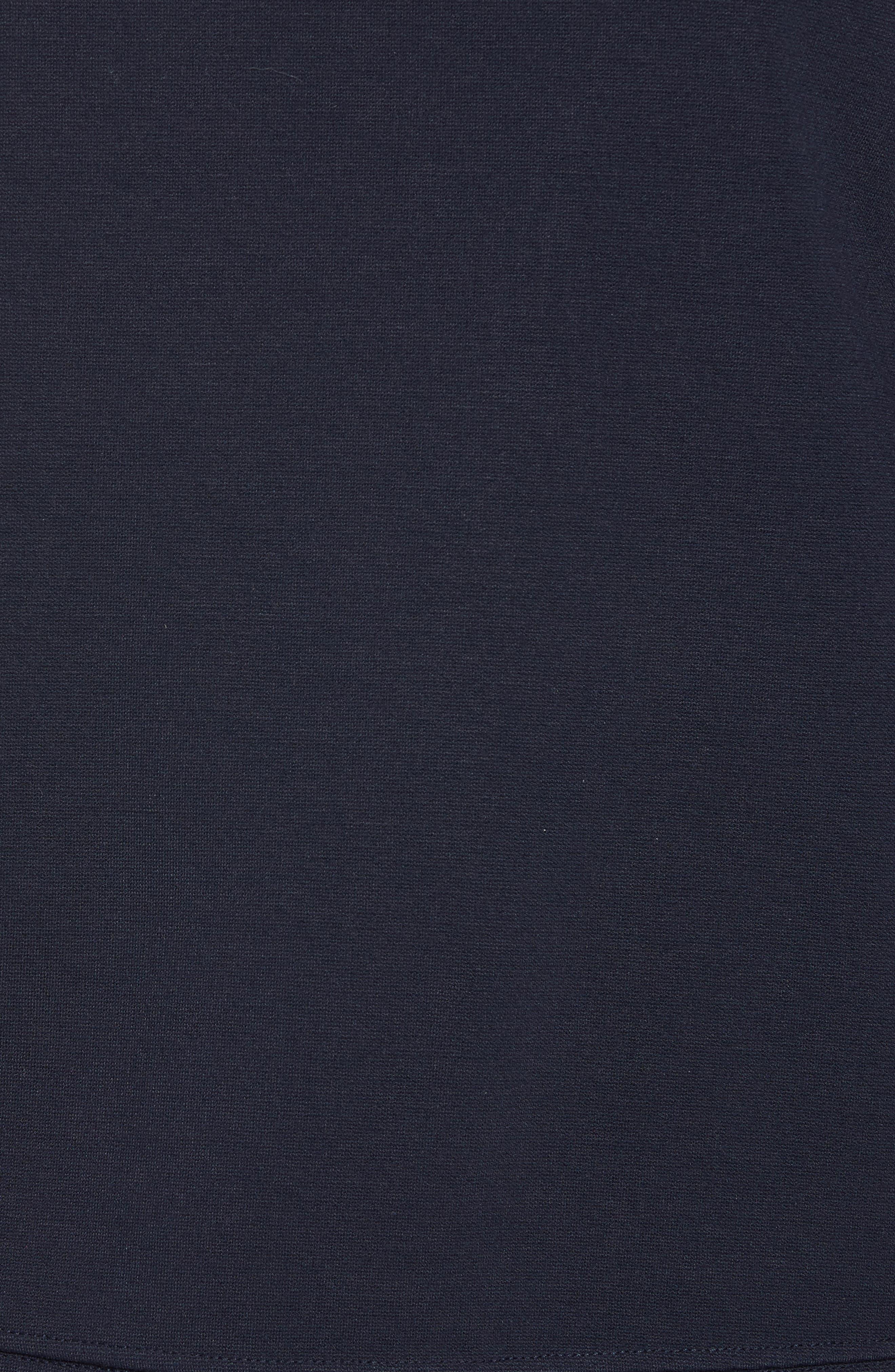 Woven Inset Ponte Knit Sweatshirt,                             Alternate thumbnail 5, color,                             Navy Night
