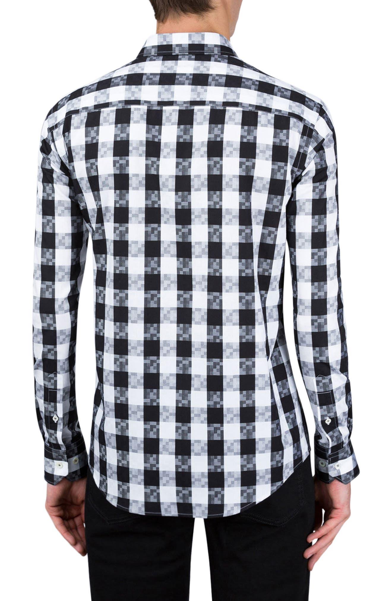 Classic Fit Gingham Sport Shirt,                             Alternate thumbnail 2, color,                             Black