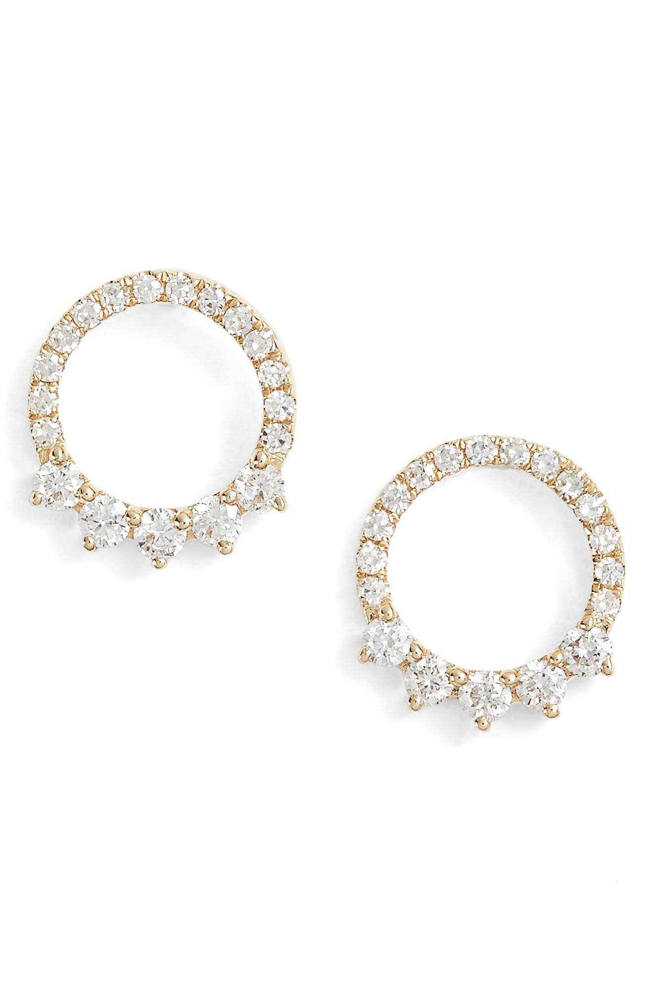 Floating Open Circle Stud Earrings,                         Main,                         color, Yellow Gold