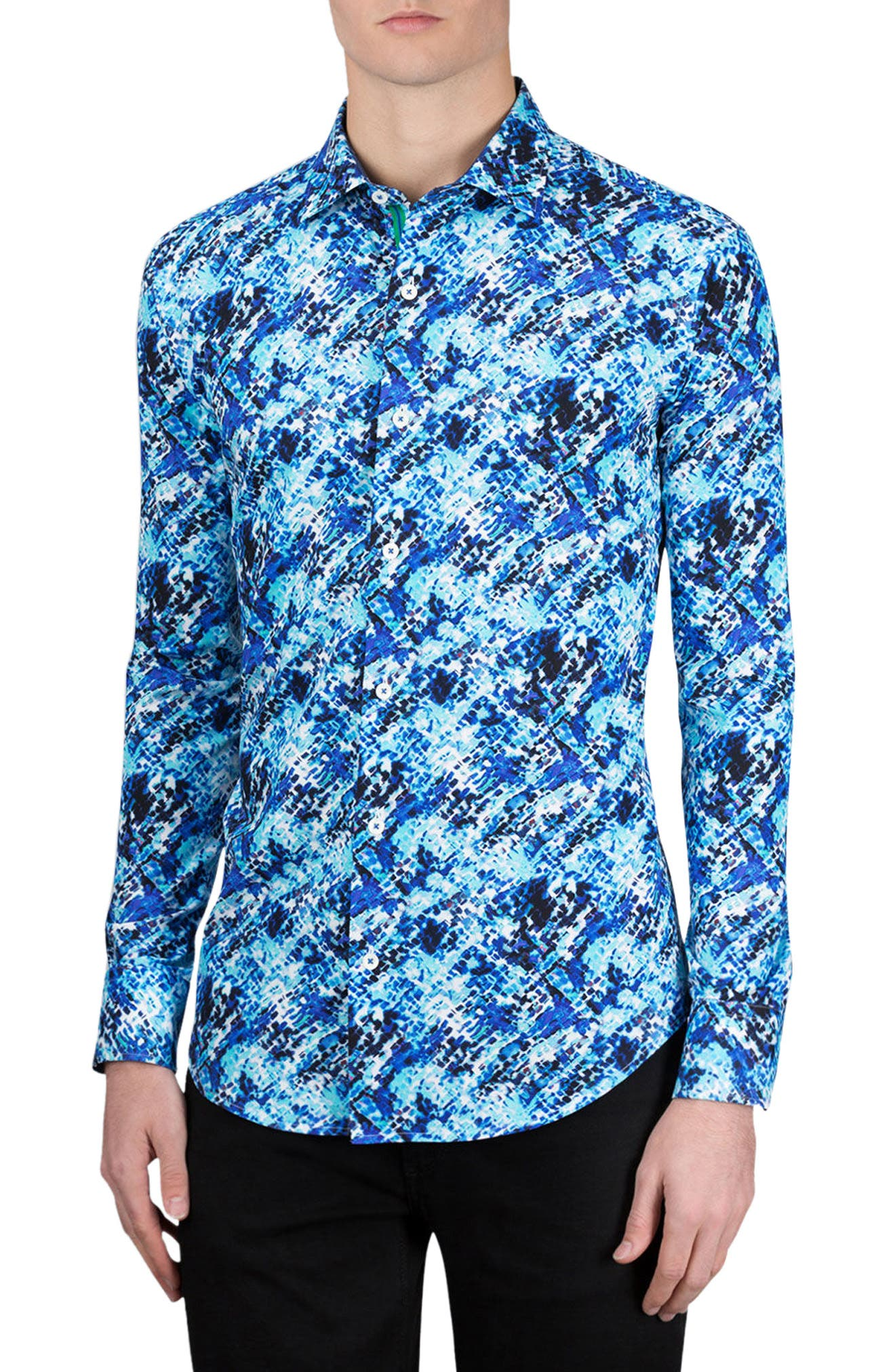 Classic Fit Abstract Print Sport Shirt,                         Main,                         color, Classic Blue