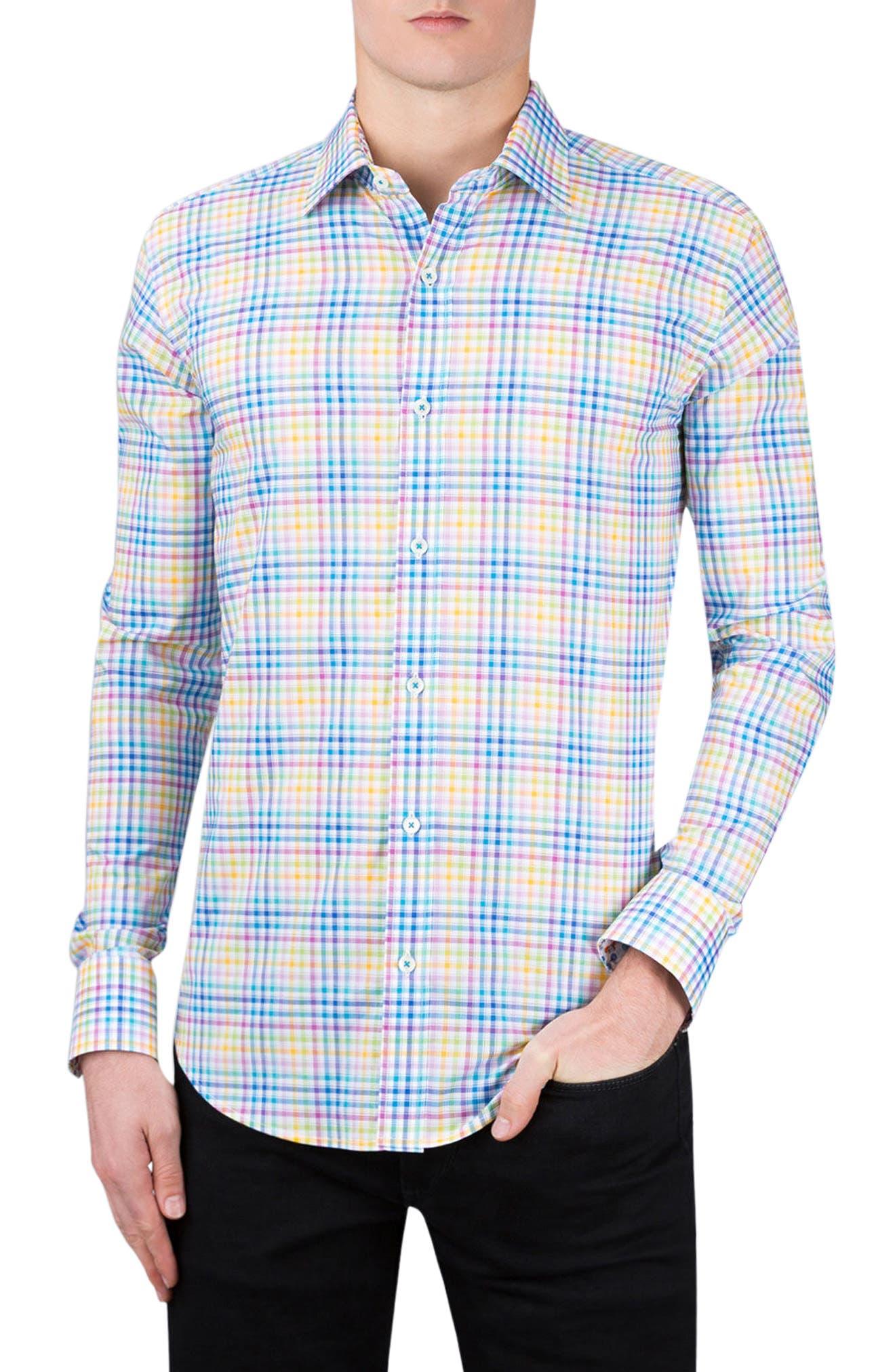 Shaped Fit Check Sport Shirt,                         Main,                         color, Paradise