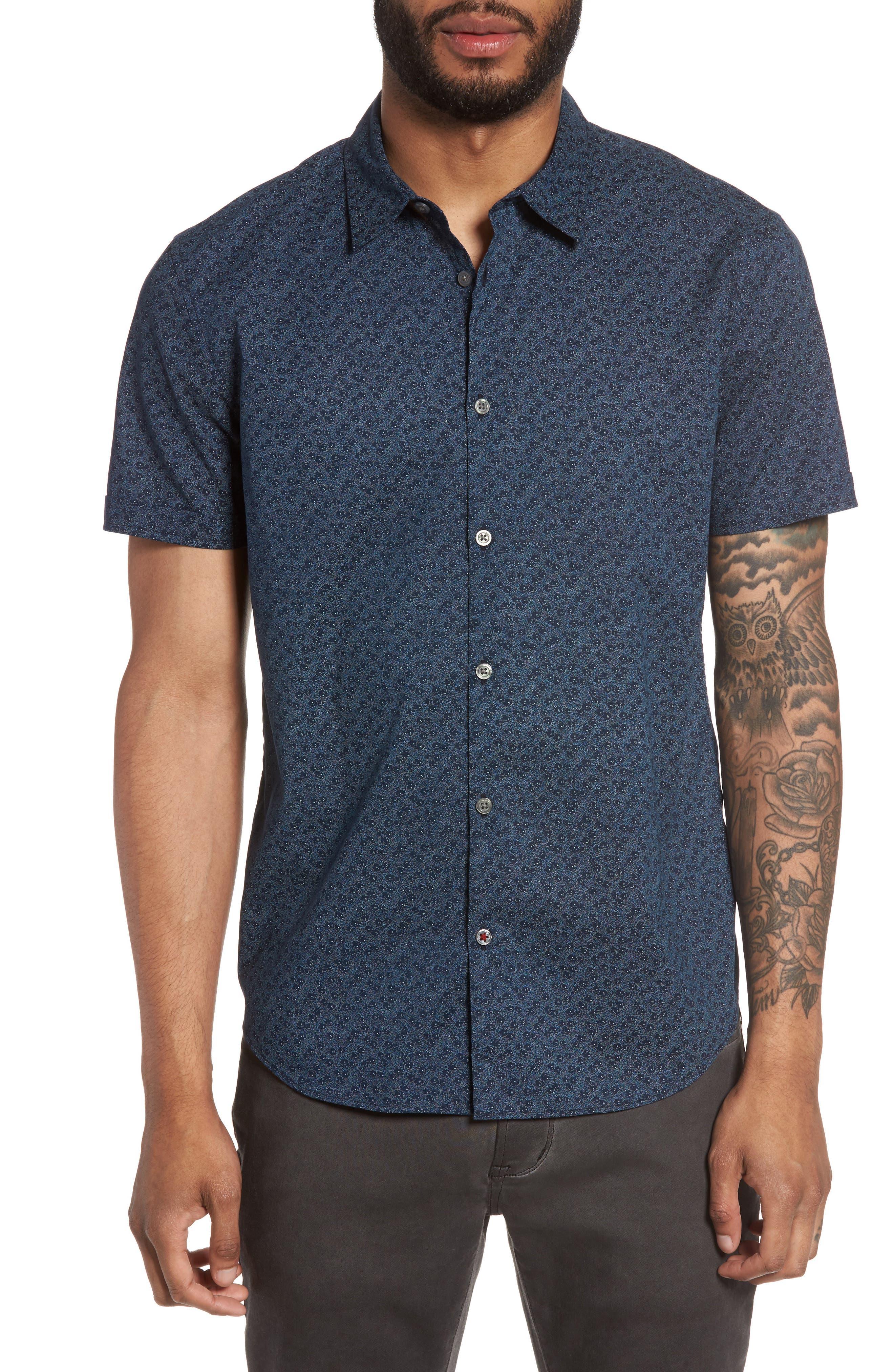 Print Sport Shirt,                         Main,                         color, Indigo
