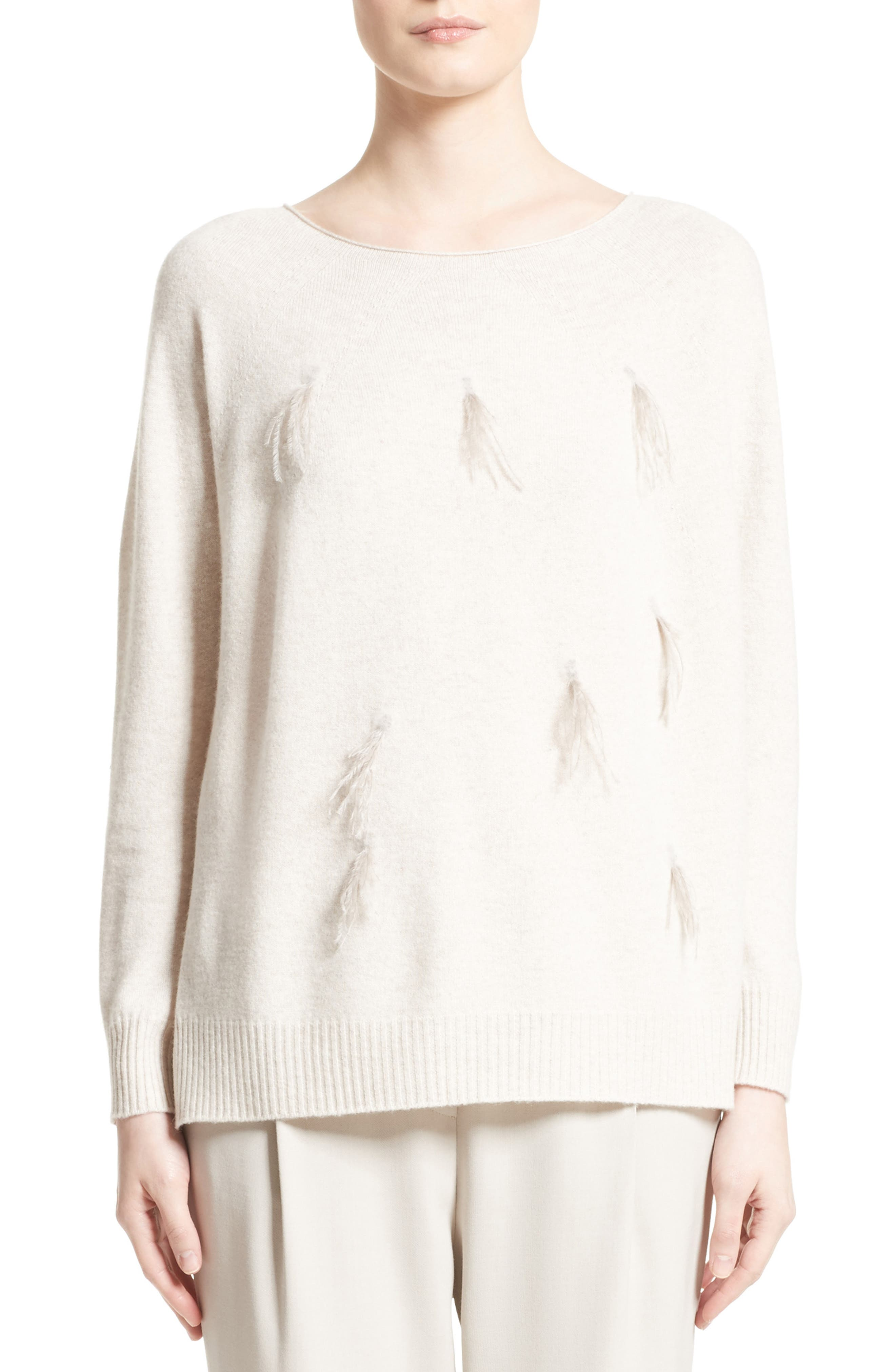 Needle Punch Ostrich Feather Trim Sweater,                         Main,                         color, Oatmeal