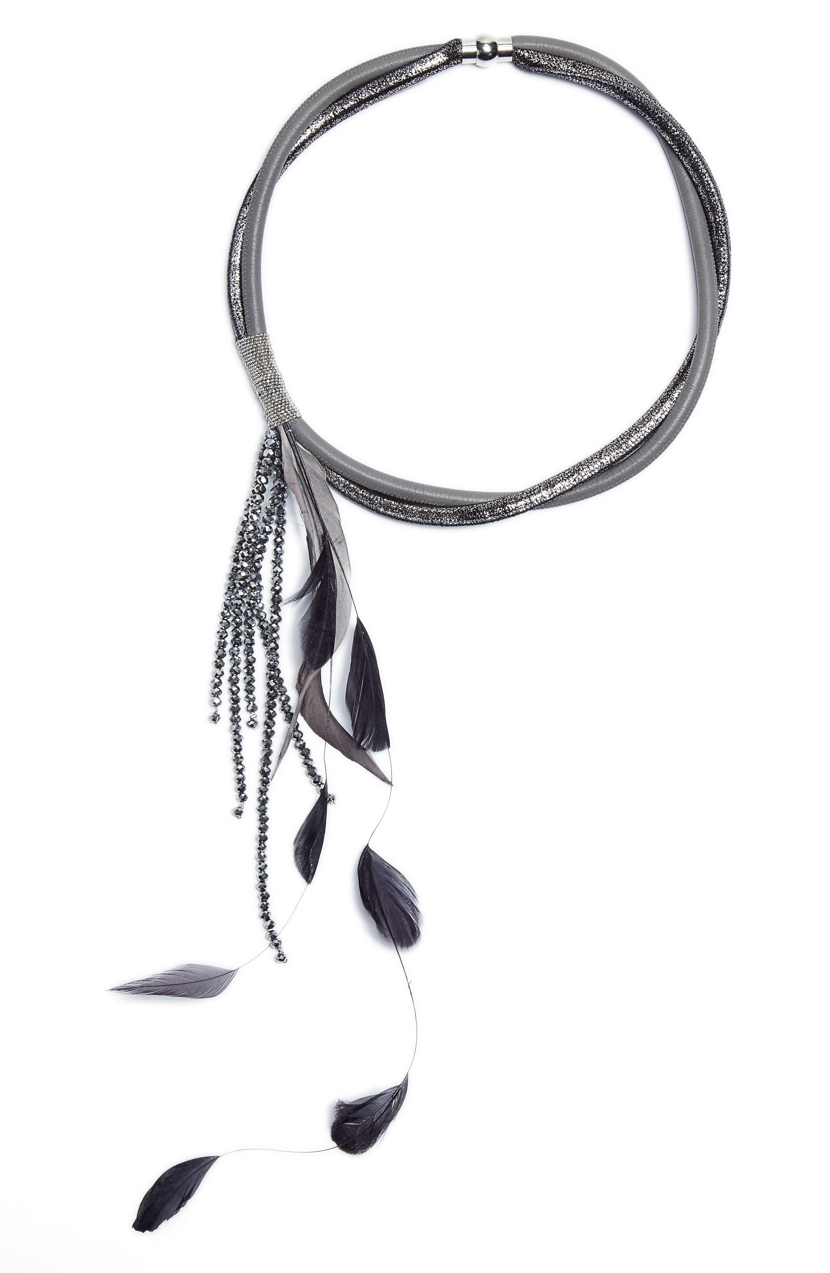 Miranda Necklace,                         Main,                         color, Grey Multi