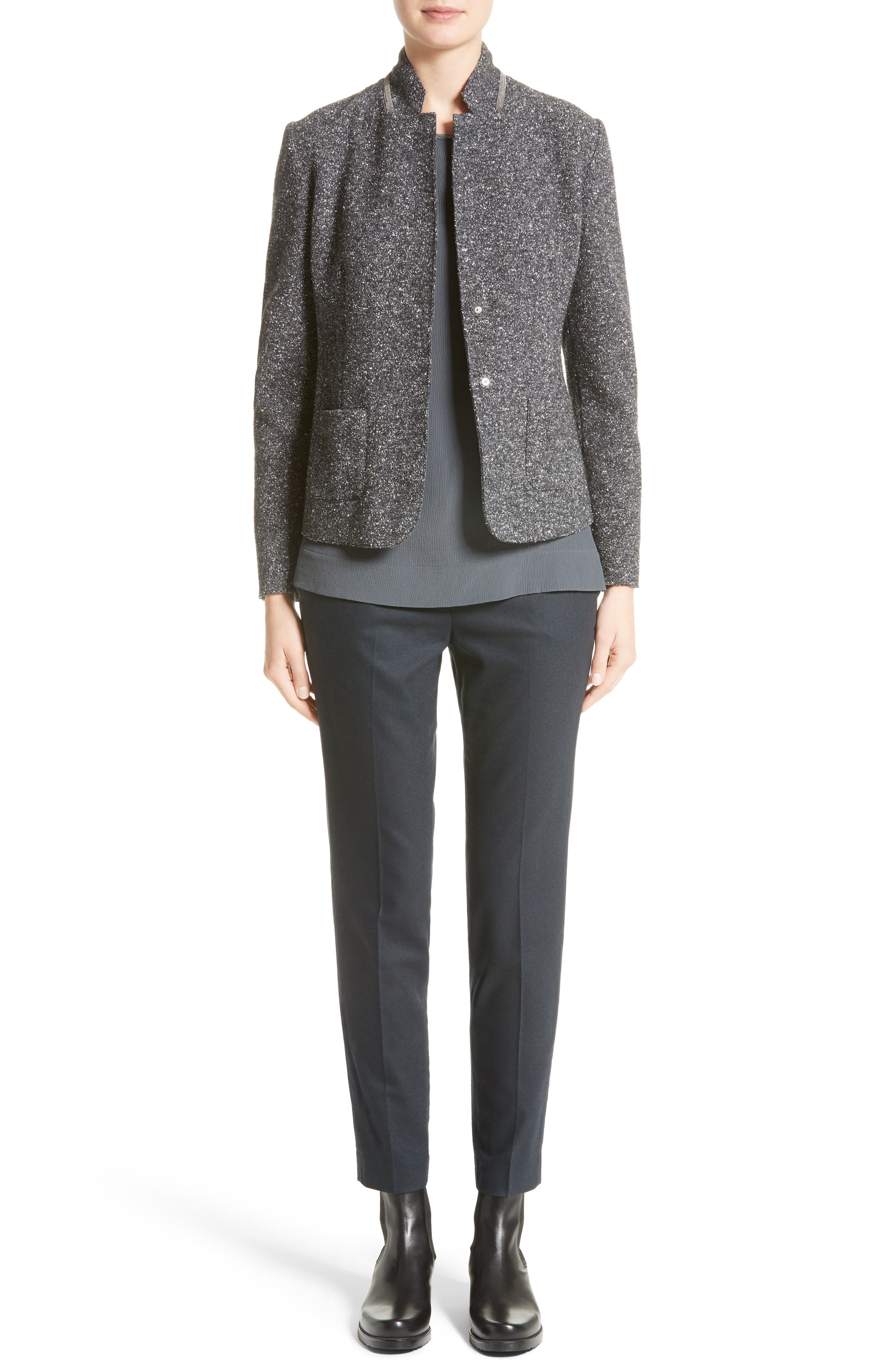 Pebble Tweed Knit Jacket,                             Alternate thumbnail 8, color,                             Grey Multi