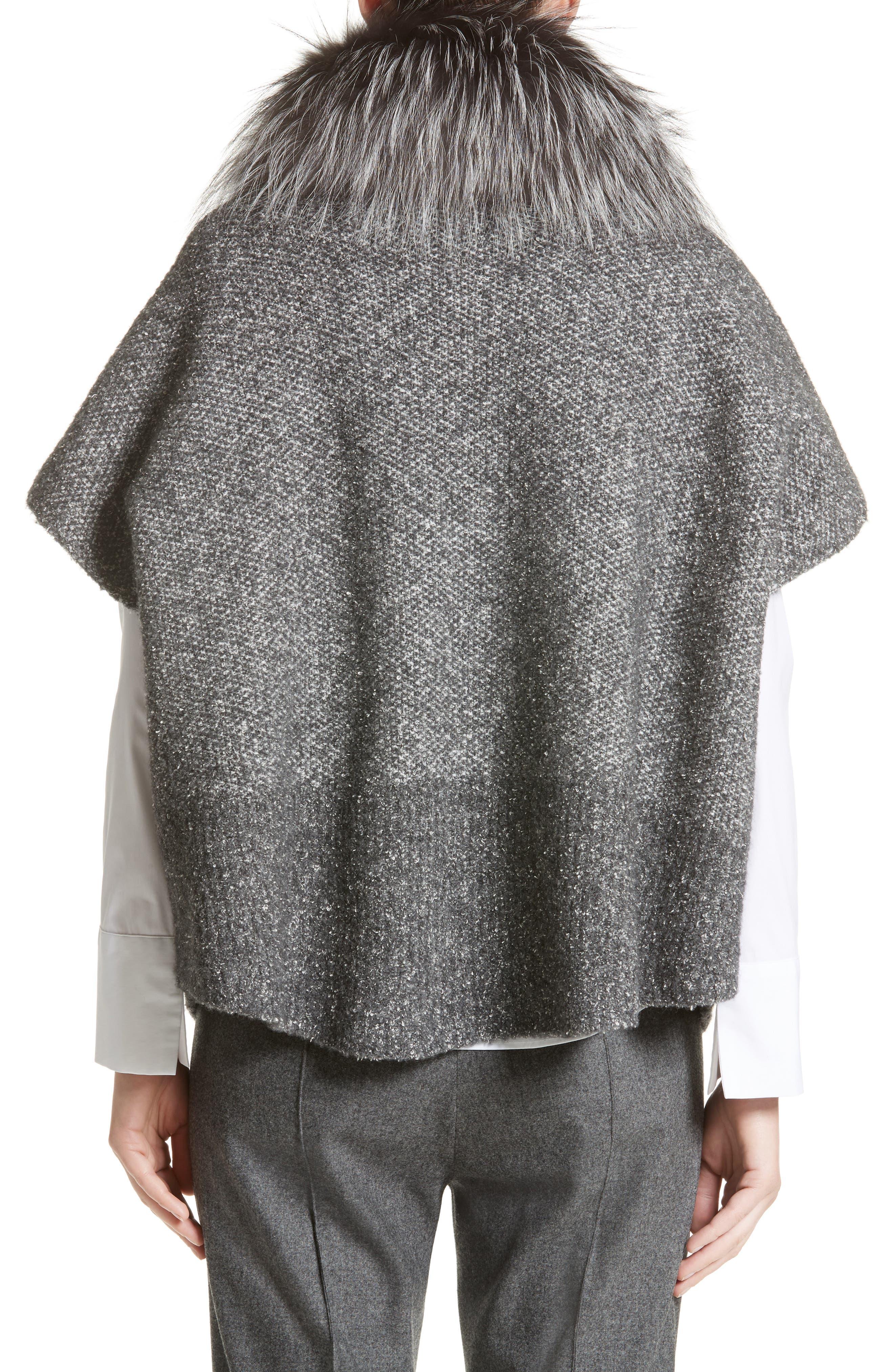 Pebble Tweed Knit Poncho with Genuine Fox Fur Collar,                             Alternate thumbnail 2, color,                             Grey Multi