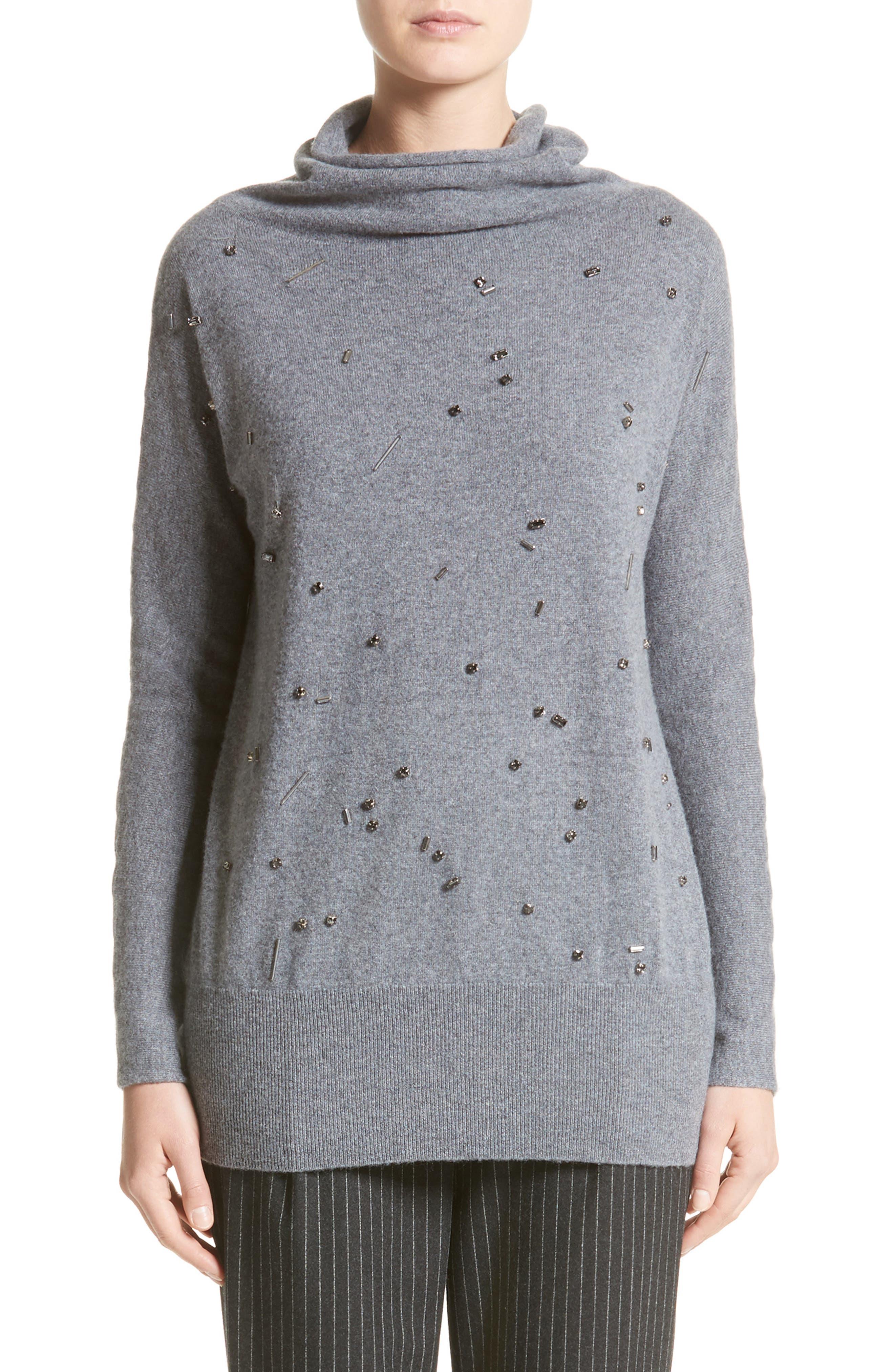 Embellished Cashmere Turtleneck Sweater,                             Main thumbnail 1, color,                             Grey