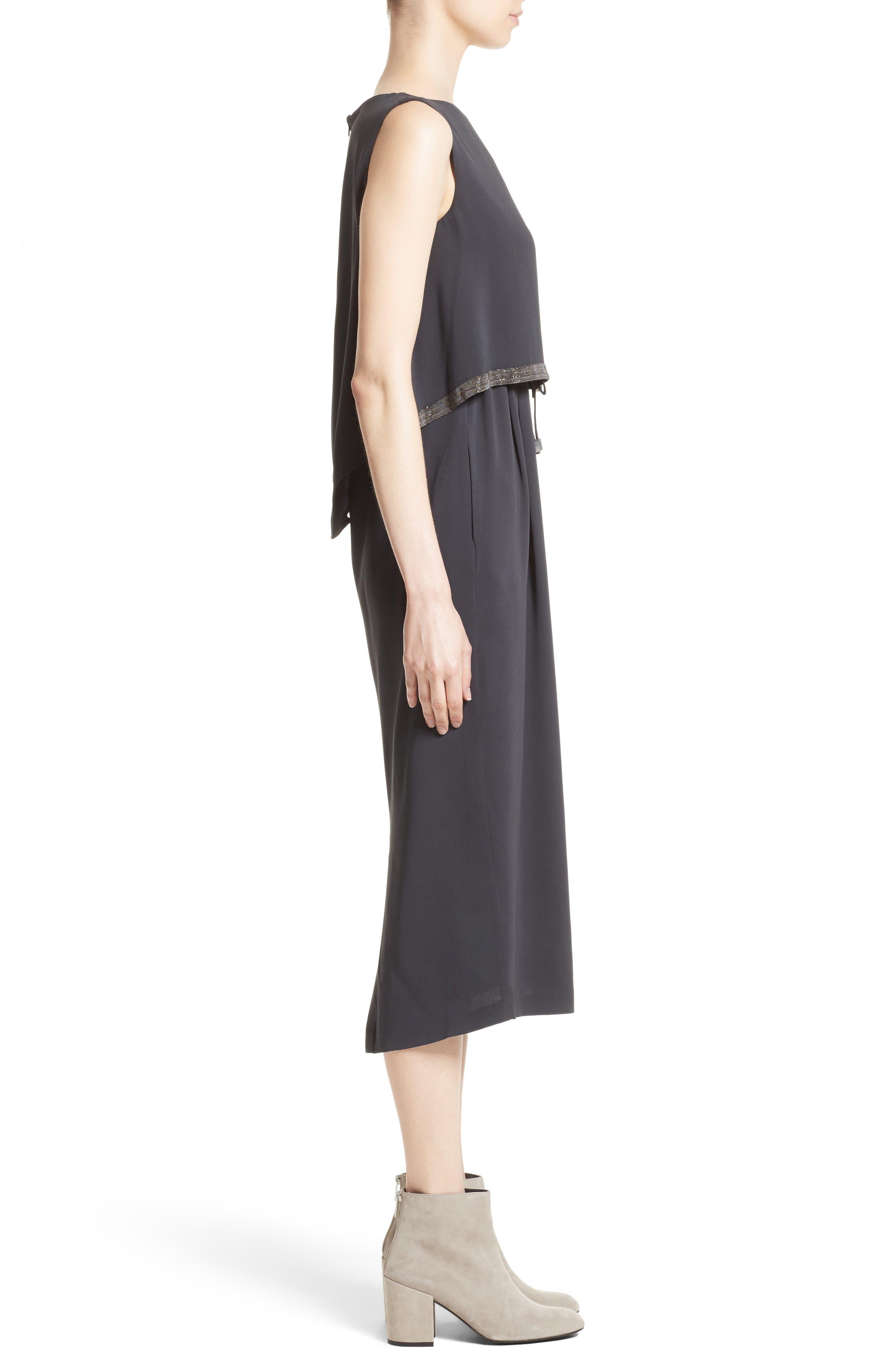 Embellished Silk Drawstring Dress,                             Alternate thumbnail 6, color,                             Slate
