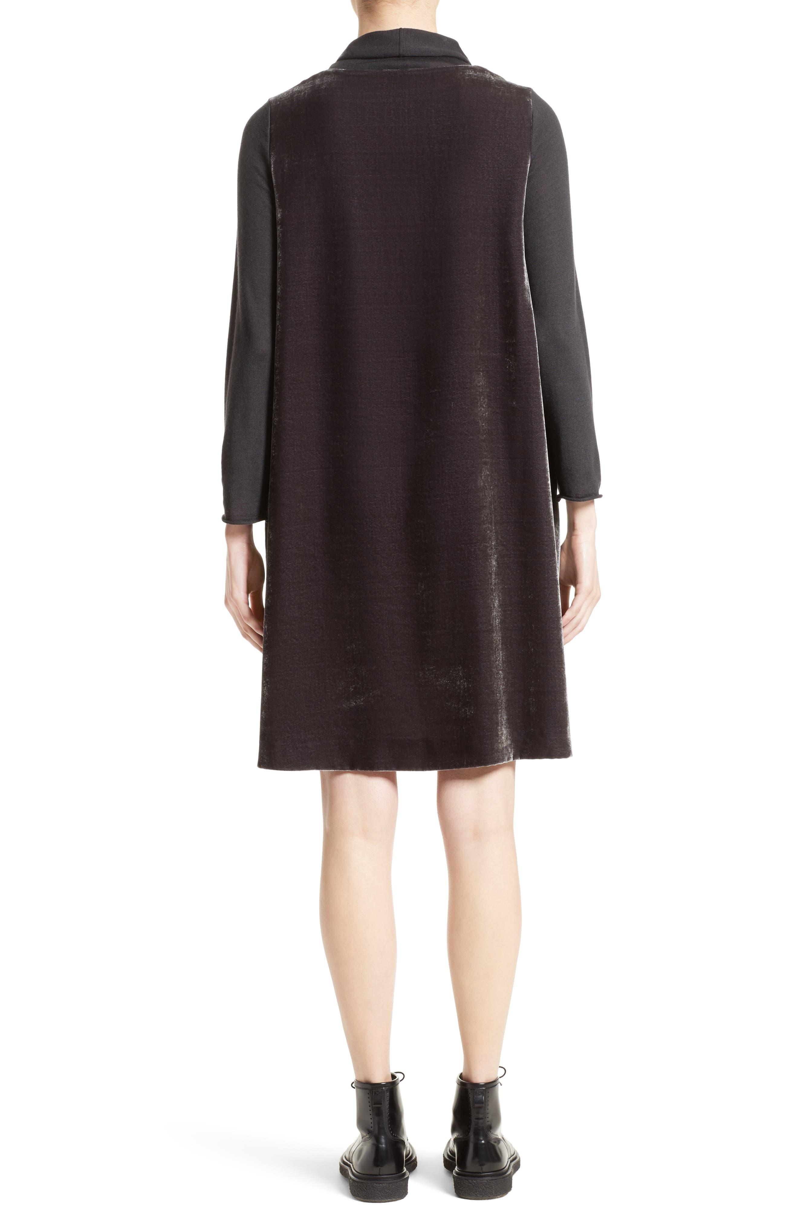 Velvet Turtleneck Dress,                             Alternate thumbnail 2, color,                             Charcoal