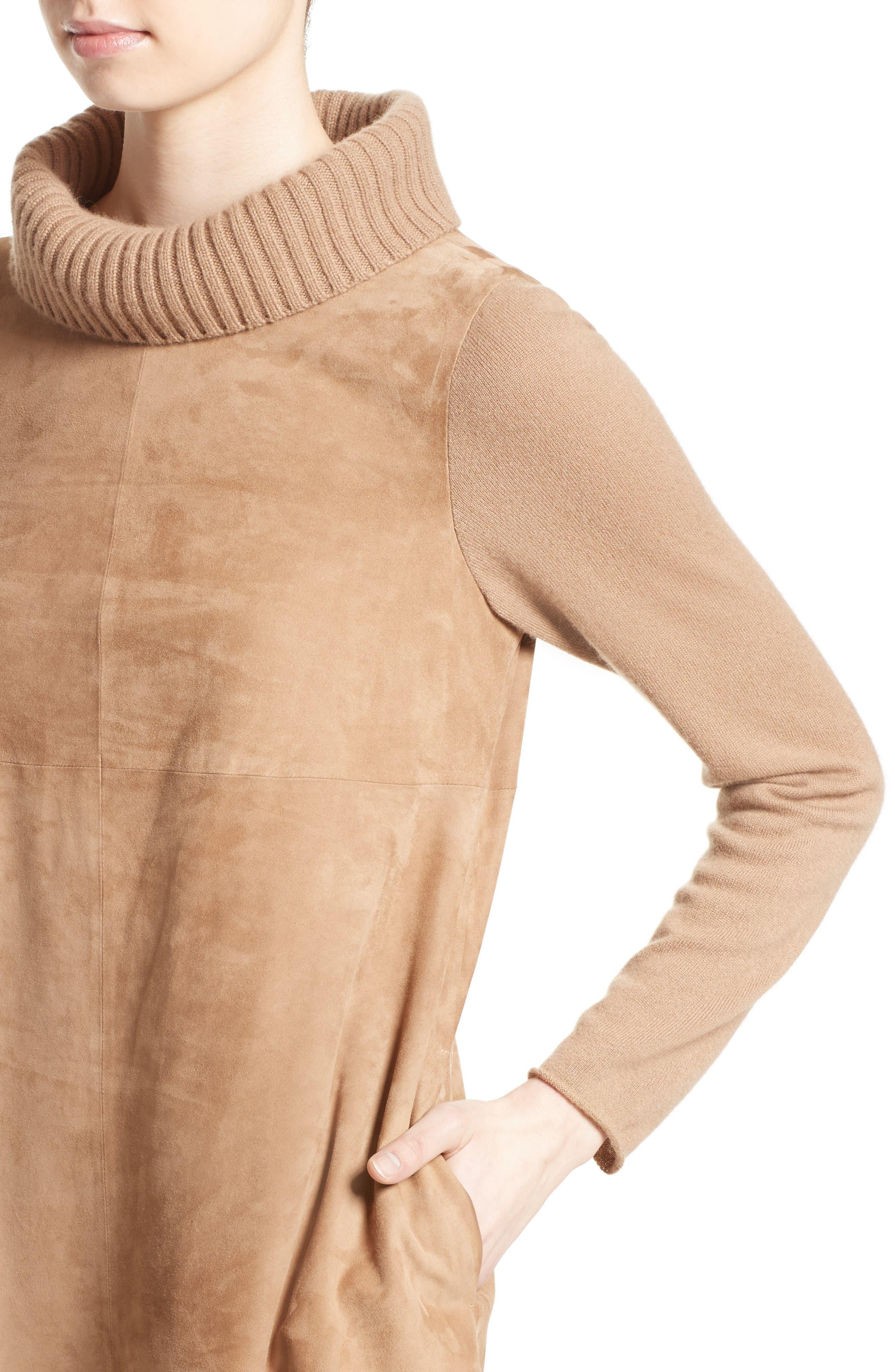 Suede & Cashmere Dress,                             Alternate thumbnail 7, color,                             Camel
