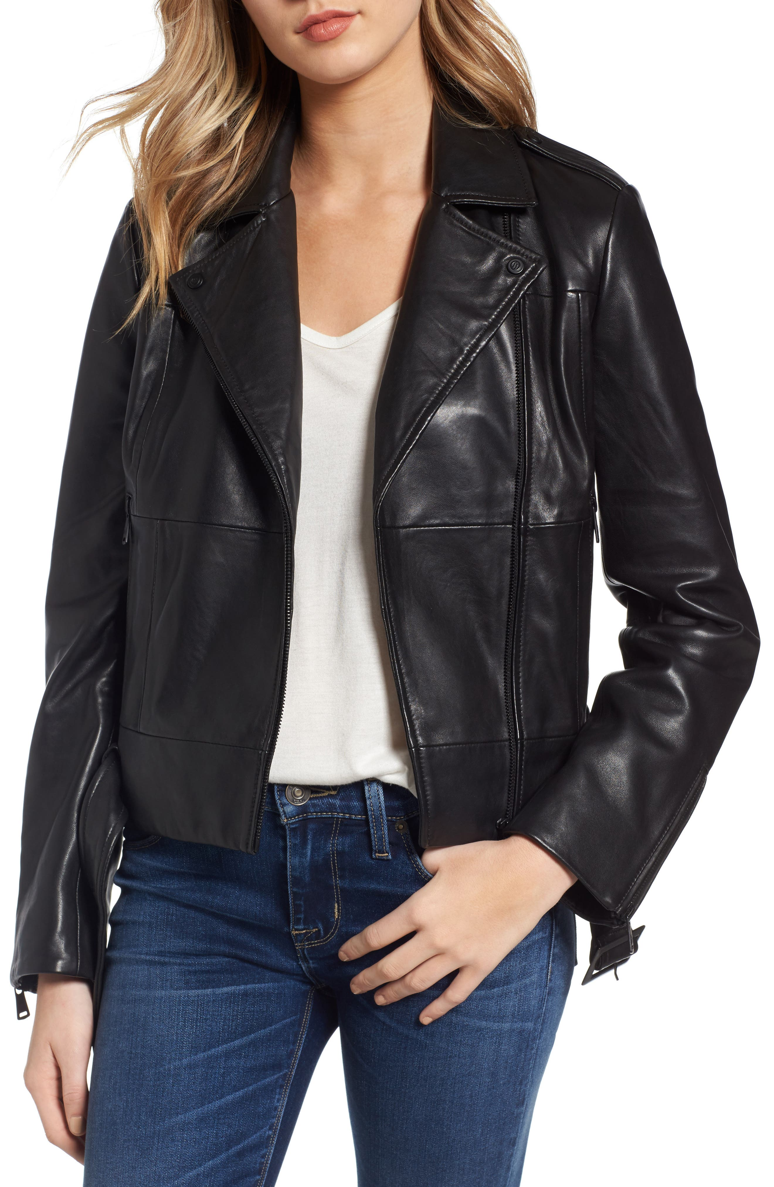 Belted Leather Moto Jacket,                             Main thumbnail 1, color,                             Black