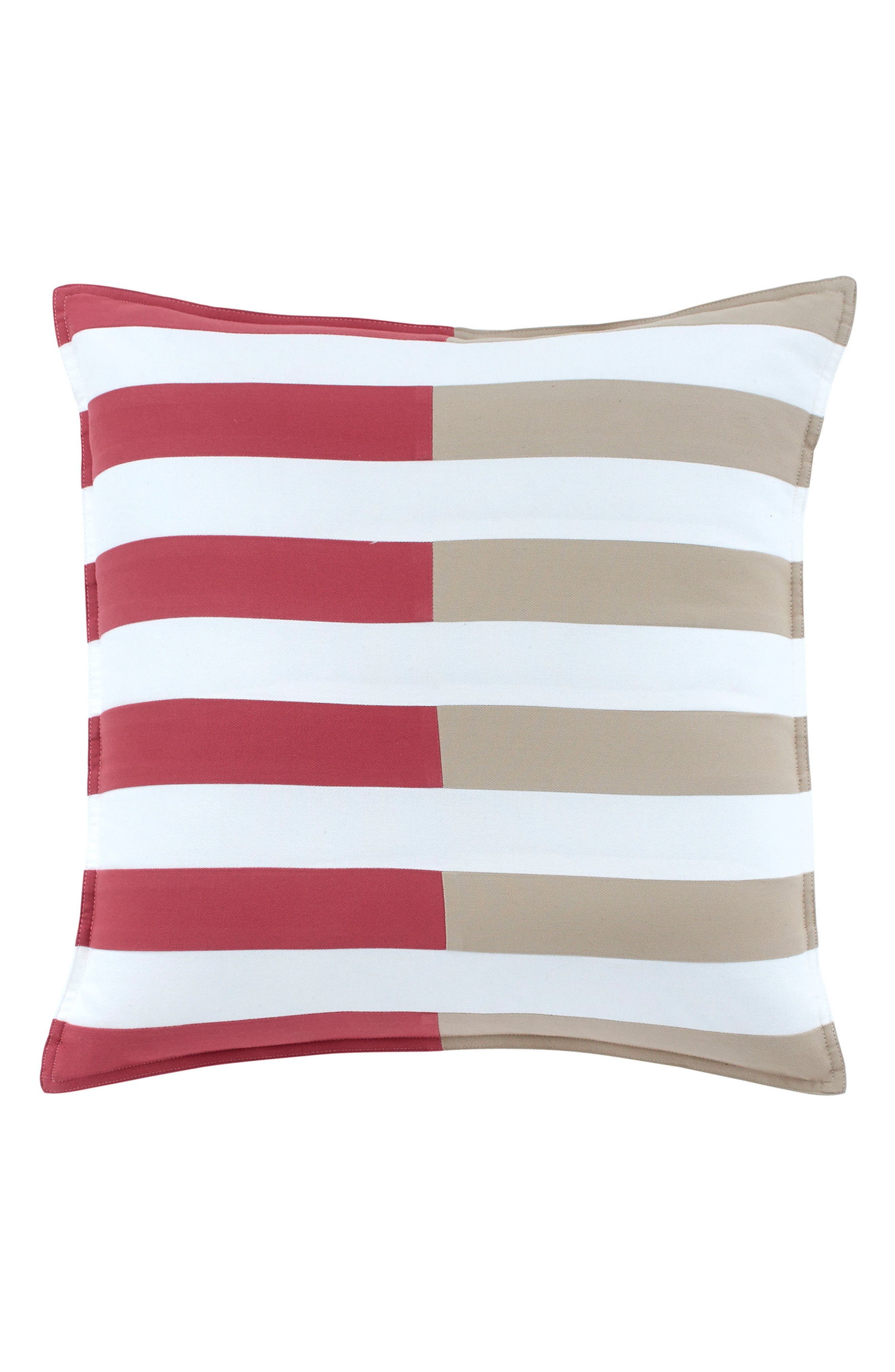 Skipjack Chino Pieced Accent Pillow,                             Main thumbnail 1, color,                             Charleston Red/ Humus/ White